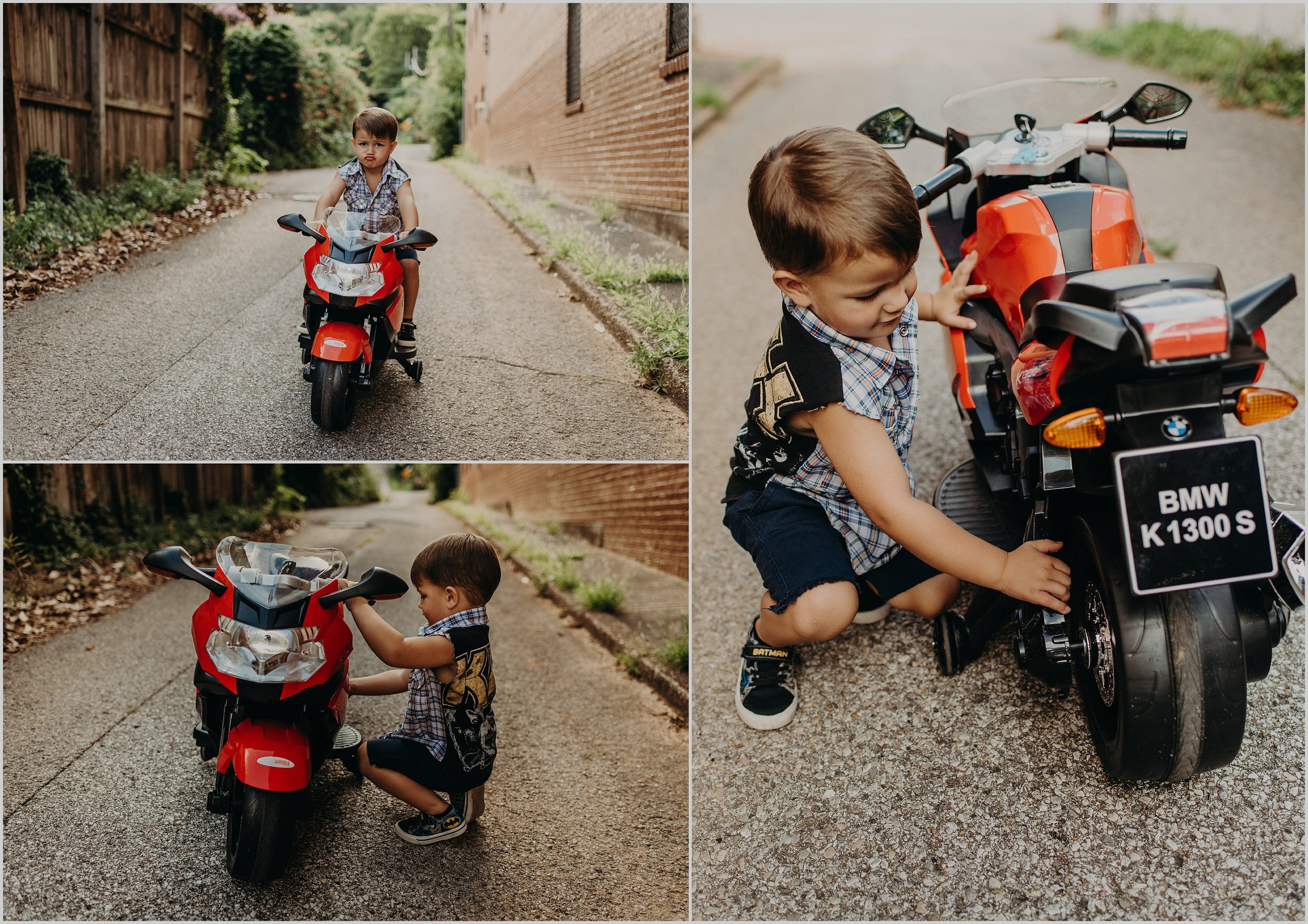 Louie inspects his BMW K 1300 S bike during his family photo session