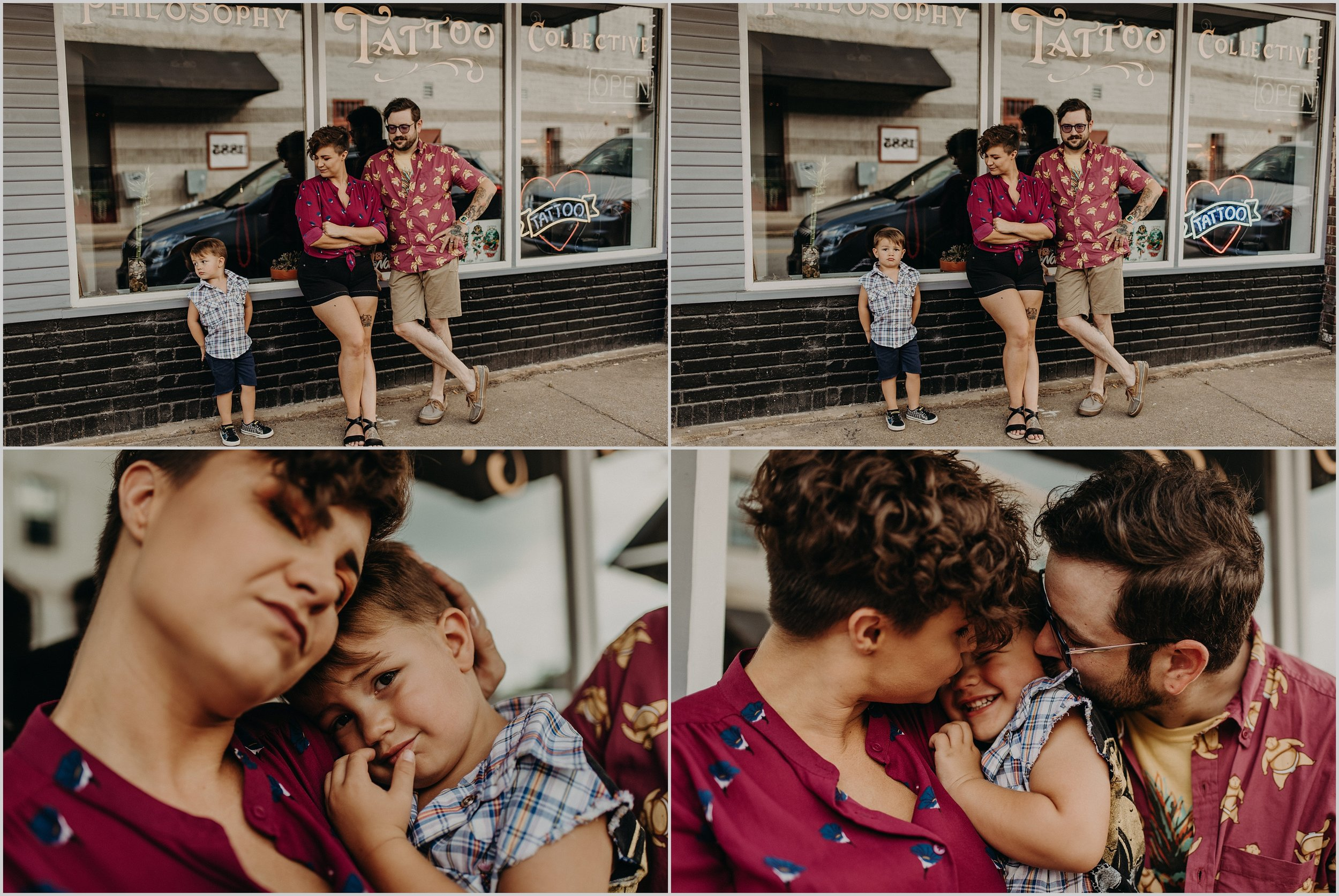 Alternative urban family photo session in front of a tattoo parlor