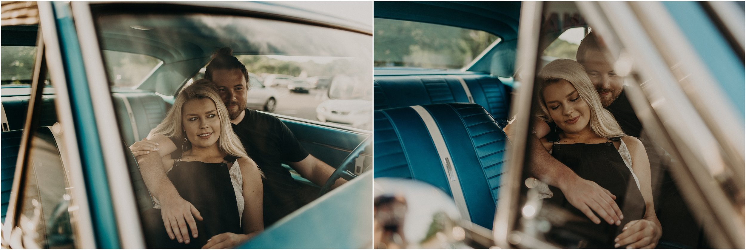 Cute couple cozies up together inside a Chevy Nova SS