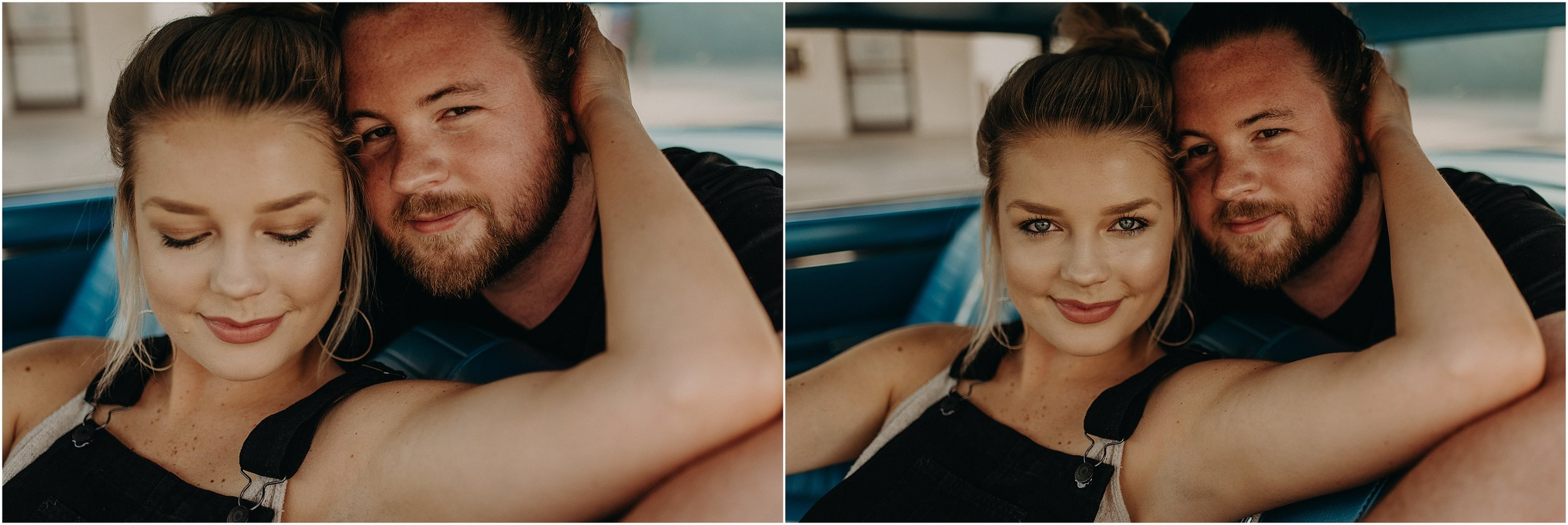 Love story photo session at a car wash in Chattanooga, Tennessee with Taylor English Photography