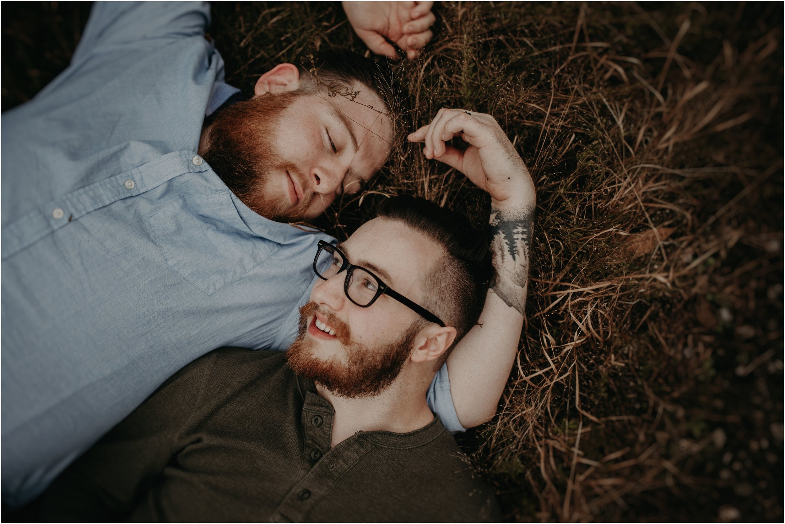 Couple lays in field at Greenway Farms in Hixson, Tn