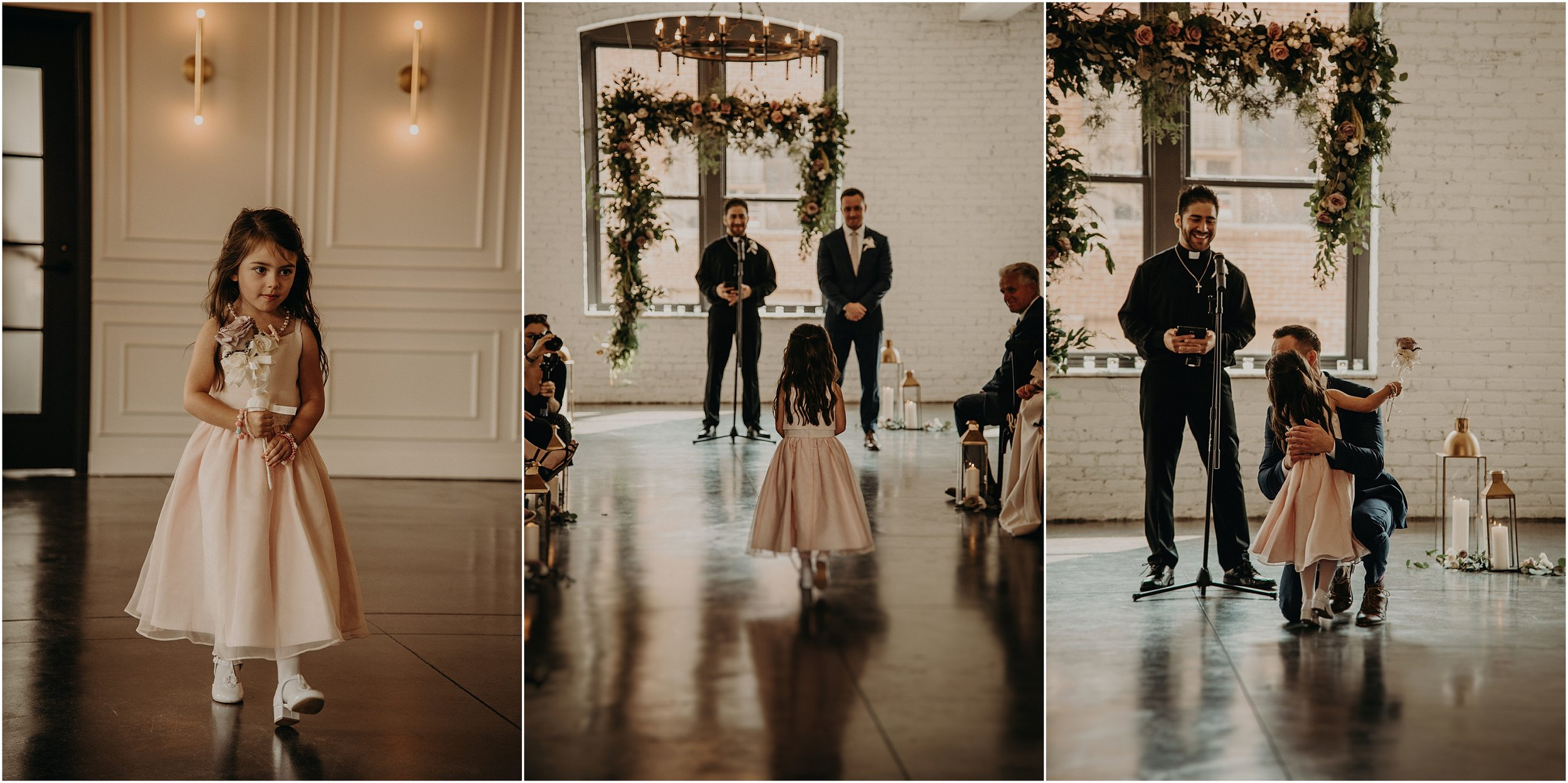 The groom's future stepdaughter walks down the aisle before her mom