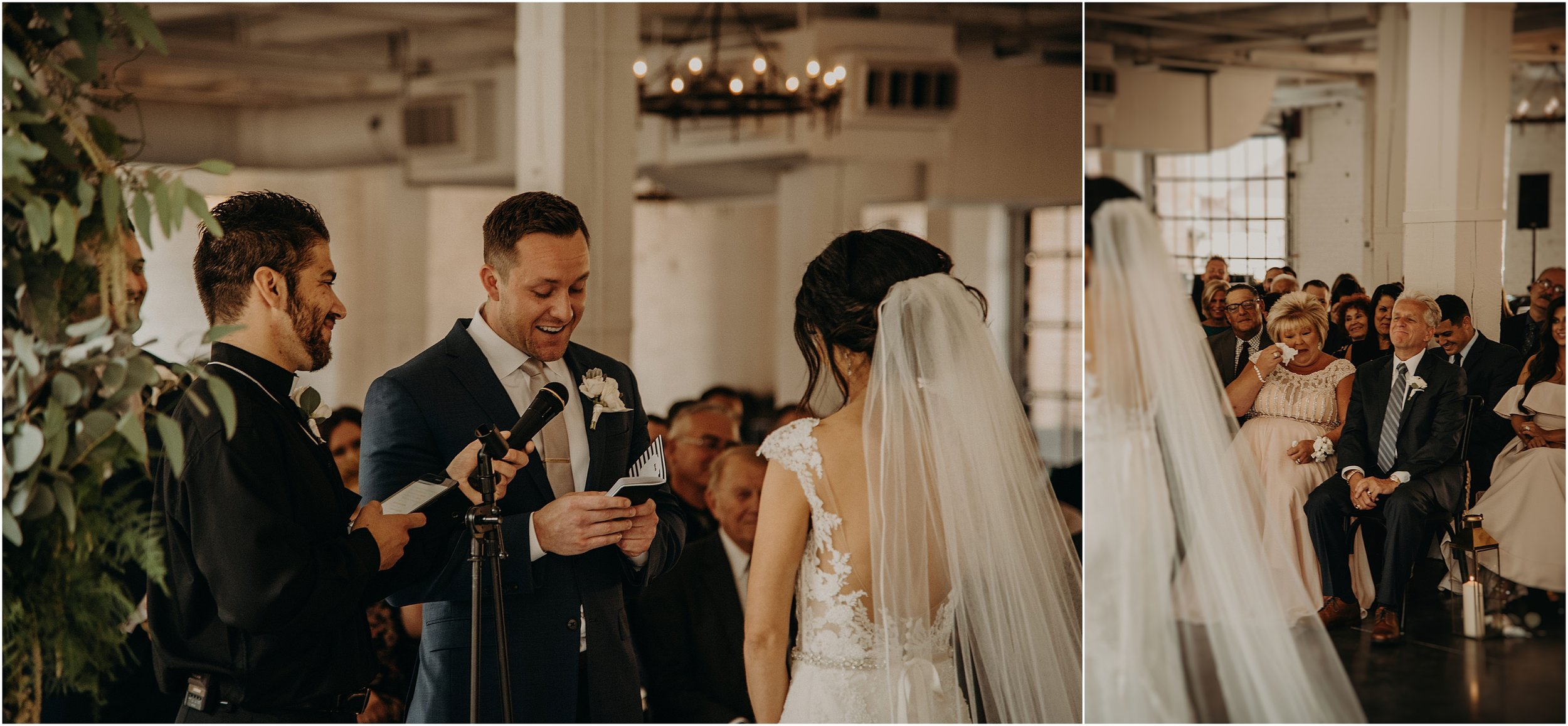 The groom reads his vows while his mother wipes away tears