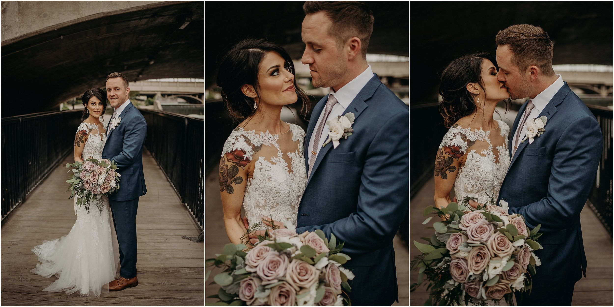 Romantic and urban wedding couple portraits