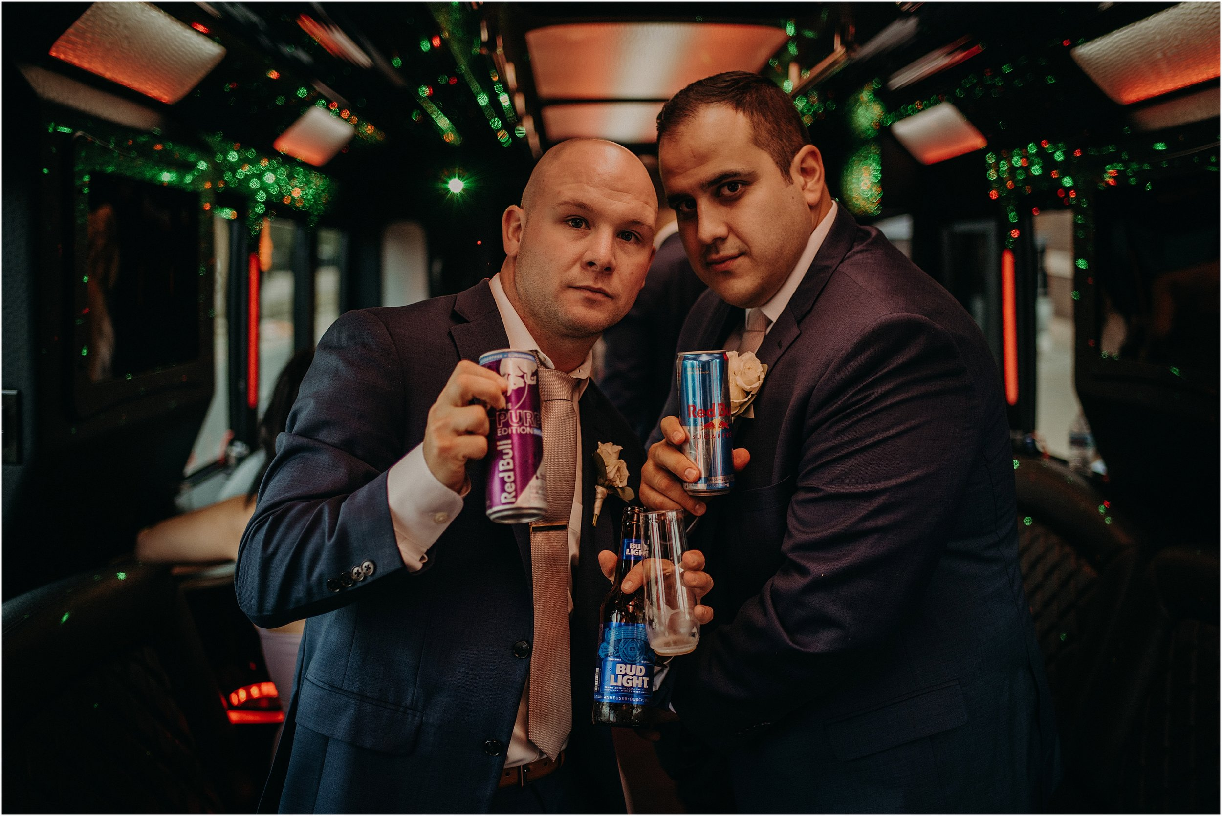 Groomsmen get lit on the party bus