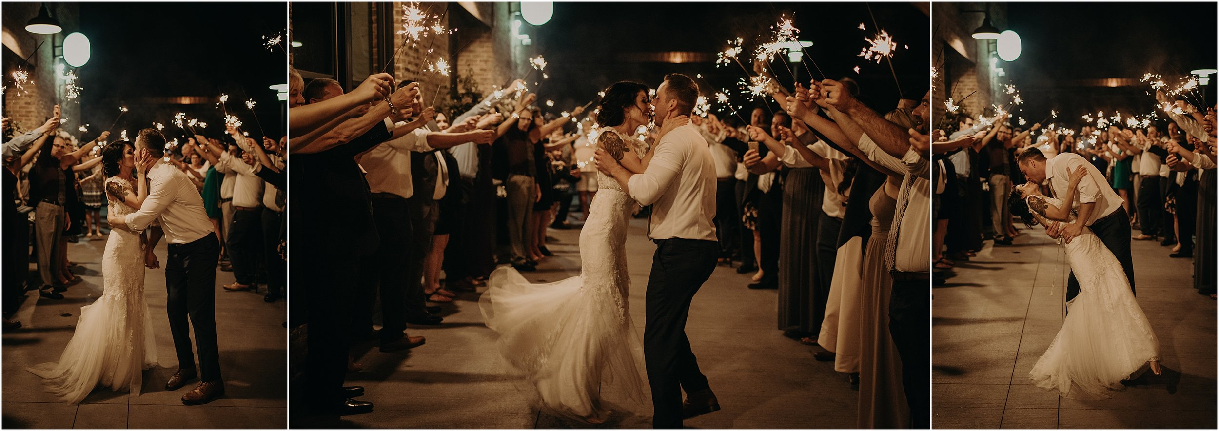 The sparkler grand exit outside of Company 251 wraps up this Chicago chic wedding
