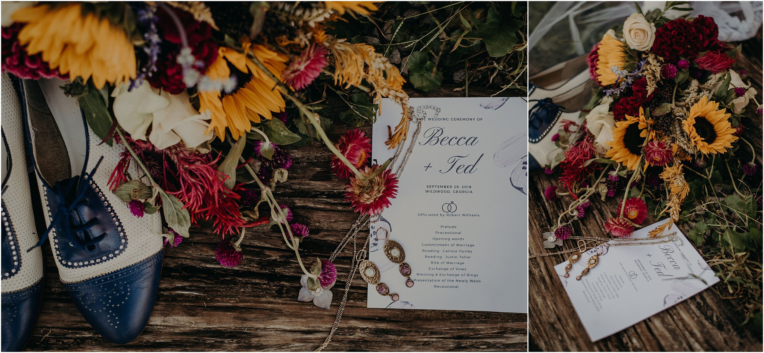 Wildflower florals and Oxford shoes for his adventurous bride