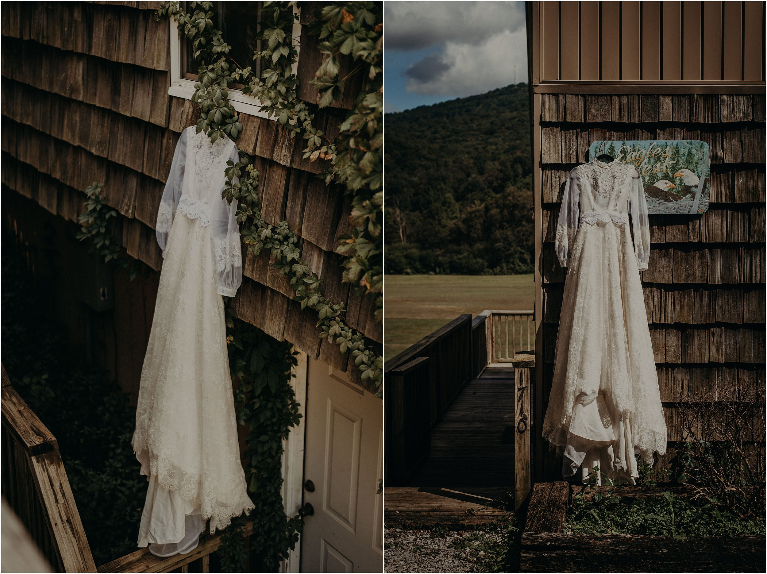 Vintage thrifted gown hanging on the cabin on Lookout Mountain, Tennessee