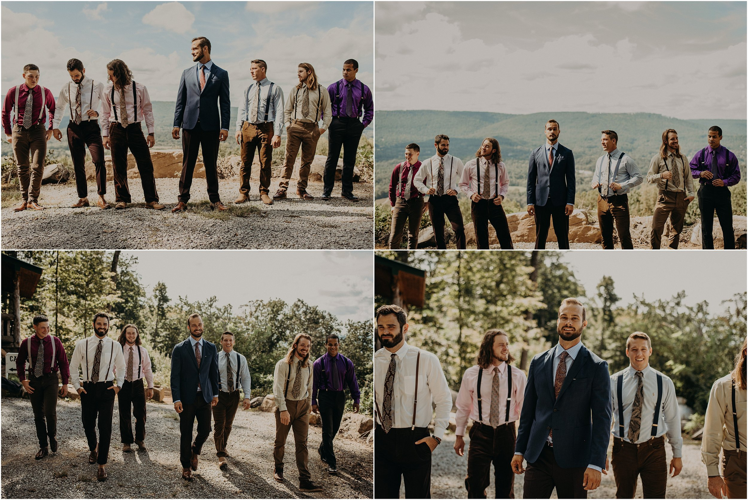 The groom and his groomsmen pose on the side of Lookout Mountain, Tennessee