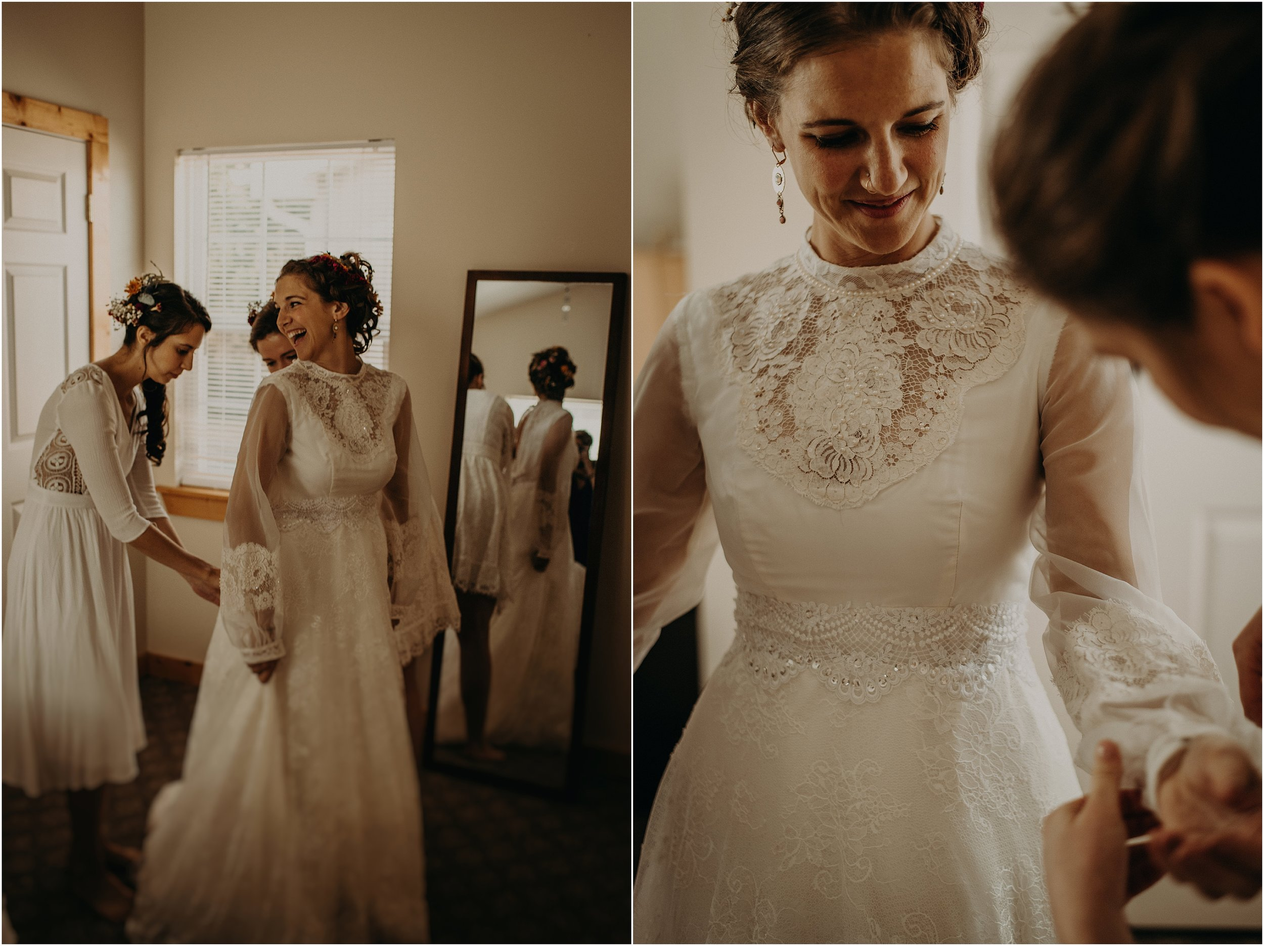 Fastening the bride's buttons on her dress