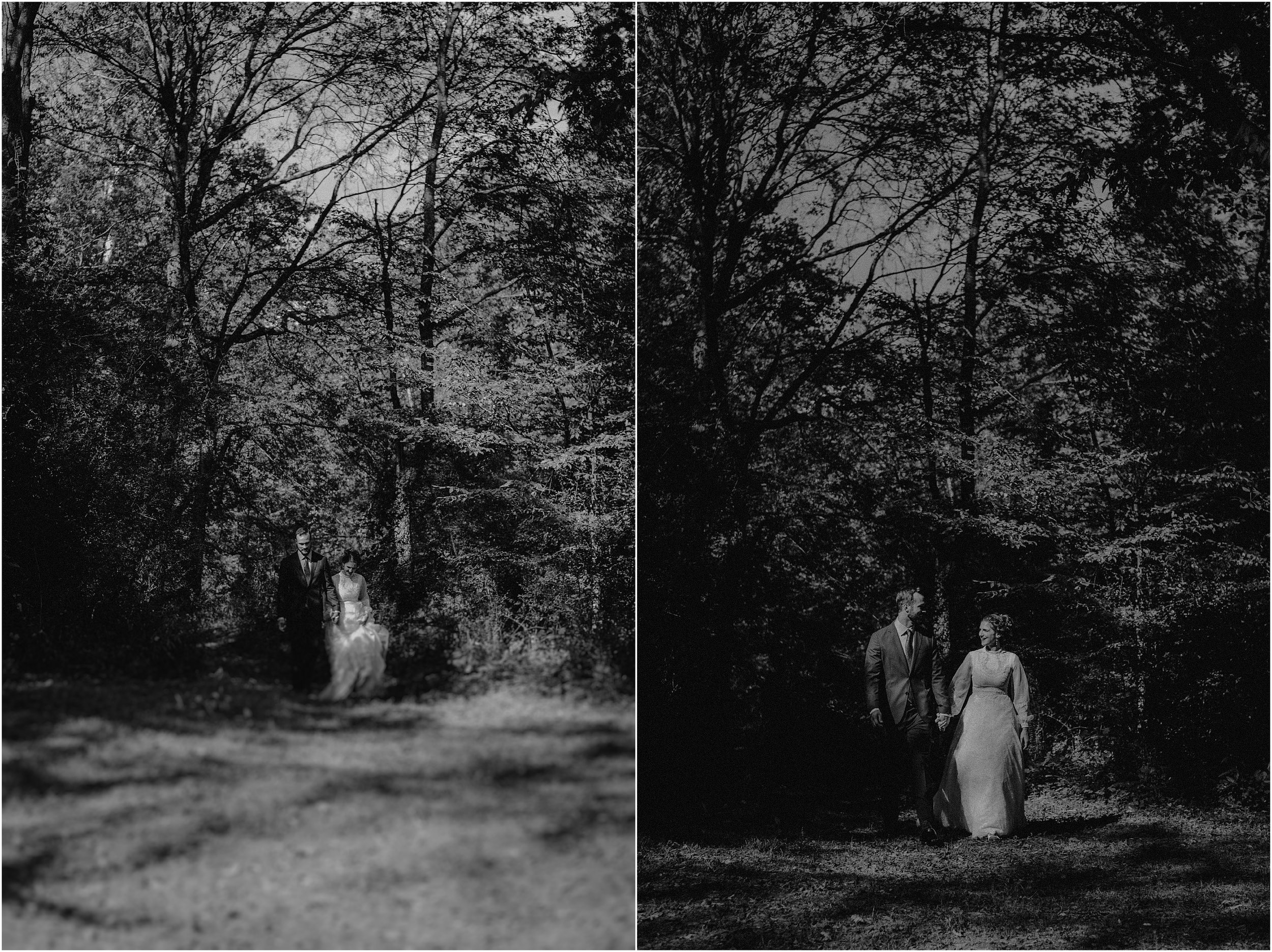 Wedding couple walks through the forest on their wedding day