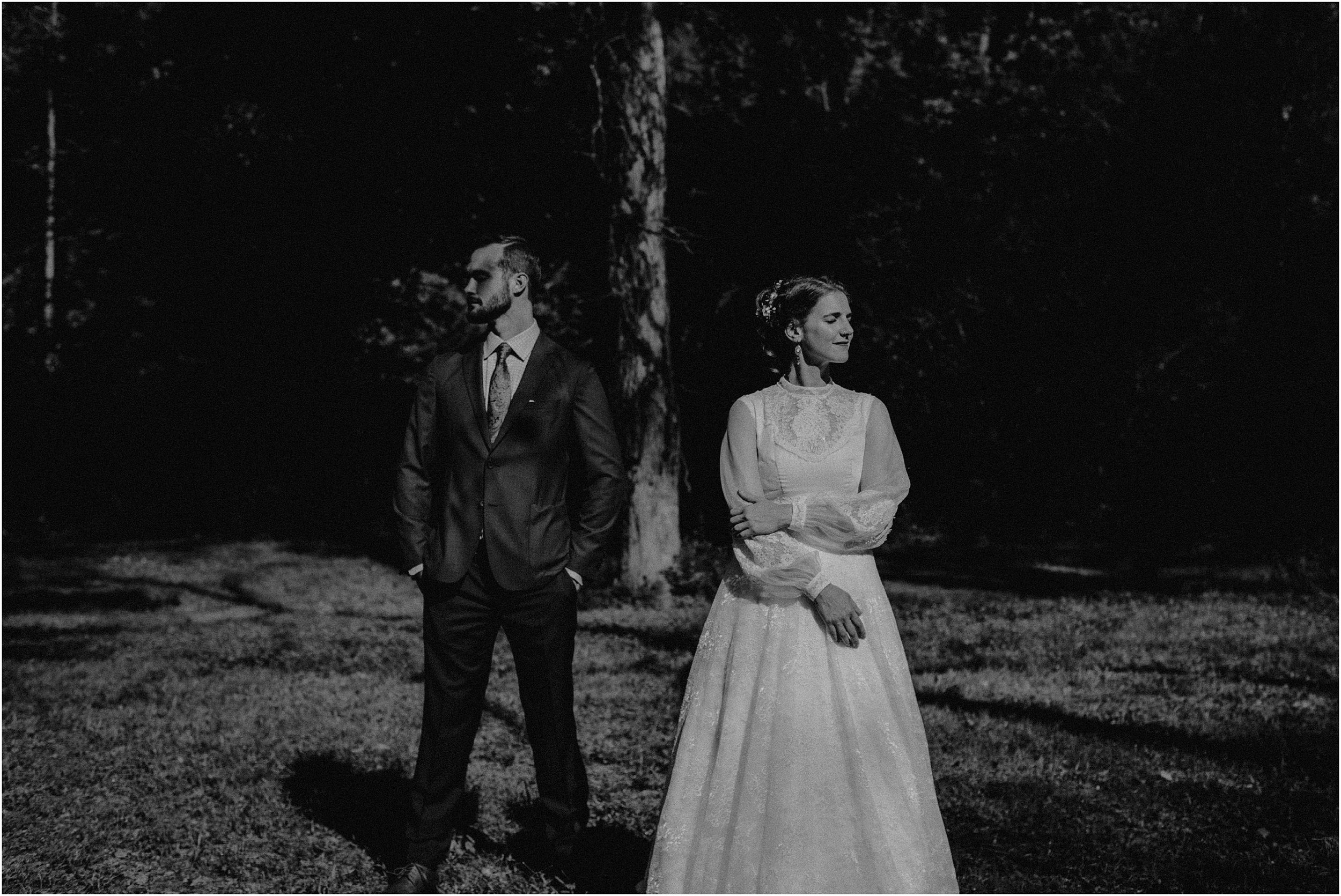 Wet-plate inspired black and white vintage image of the bride and groom