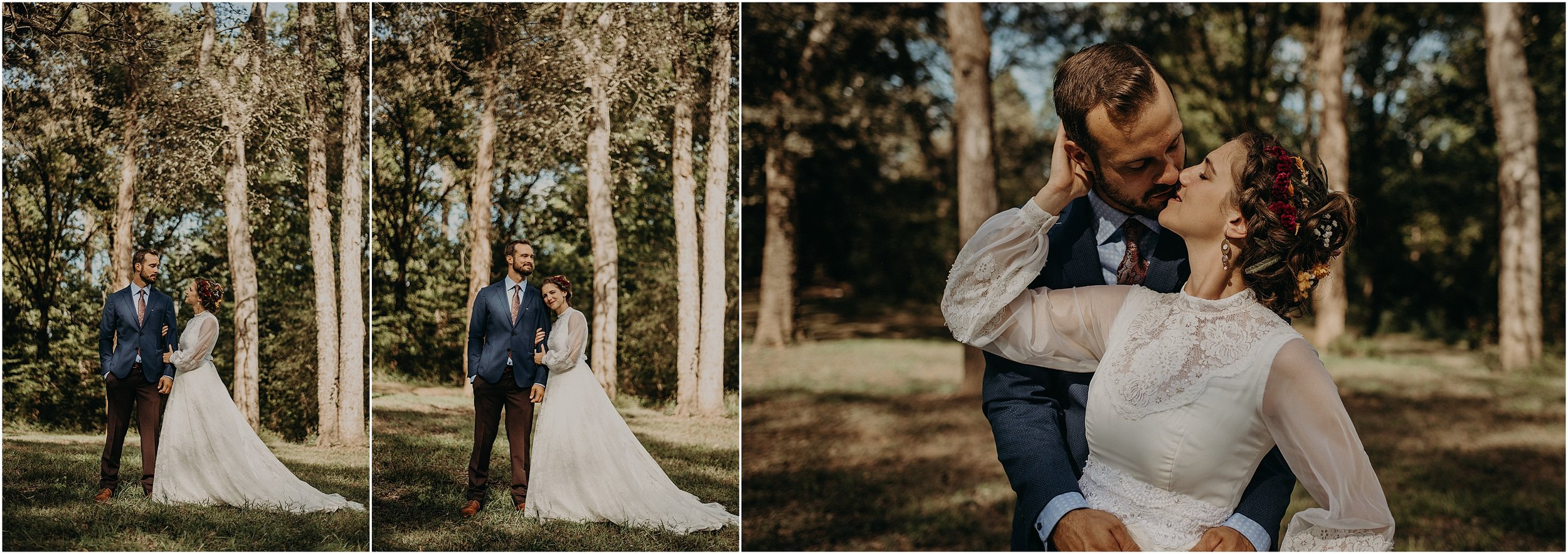 Forest portraits for the bride and groom