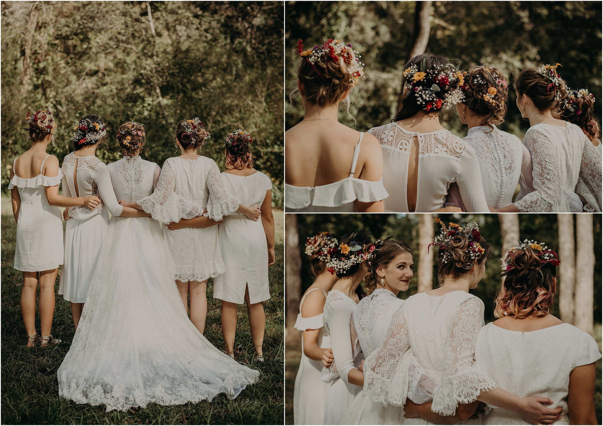 Floral and vintage inspired bridal party wedding style