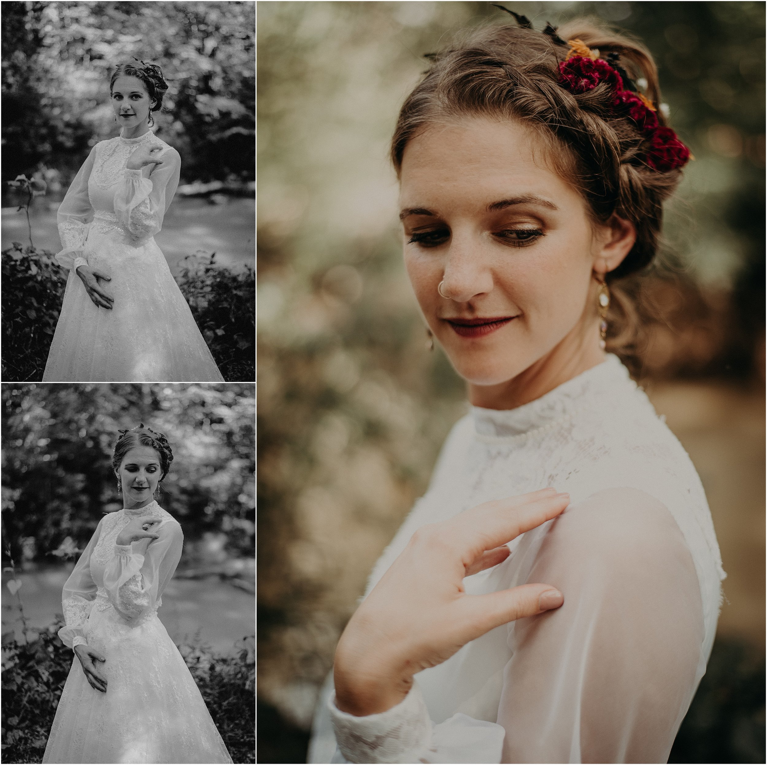 Vintage inspired bridal portraits at this Lookout Mountain, Tennessee wedding