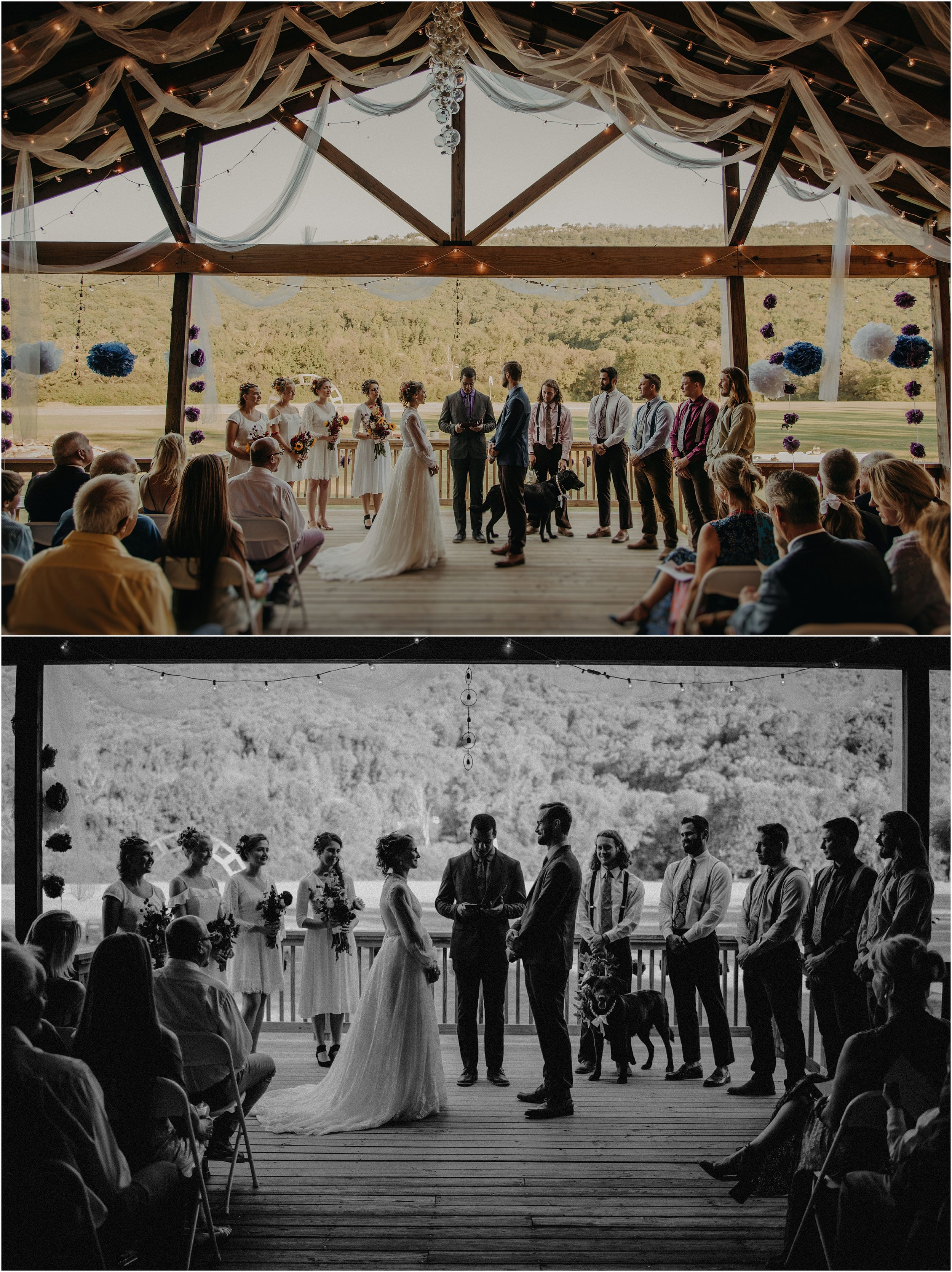 Outdoor fall wedding at the Lookout Mountain Hang-gliding School