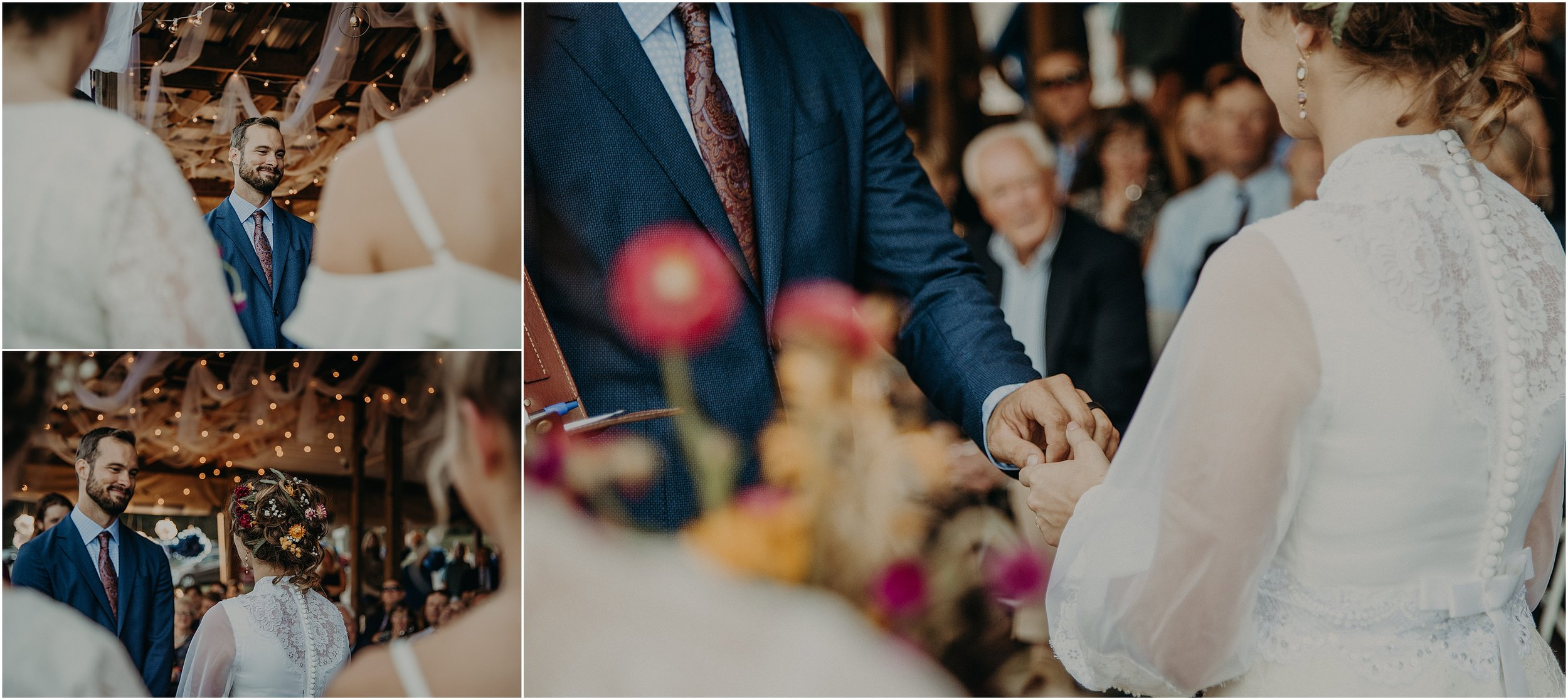 Exchanging rings between the bride and groom