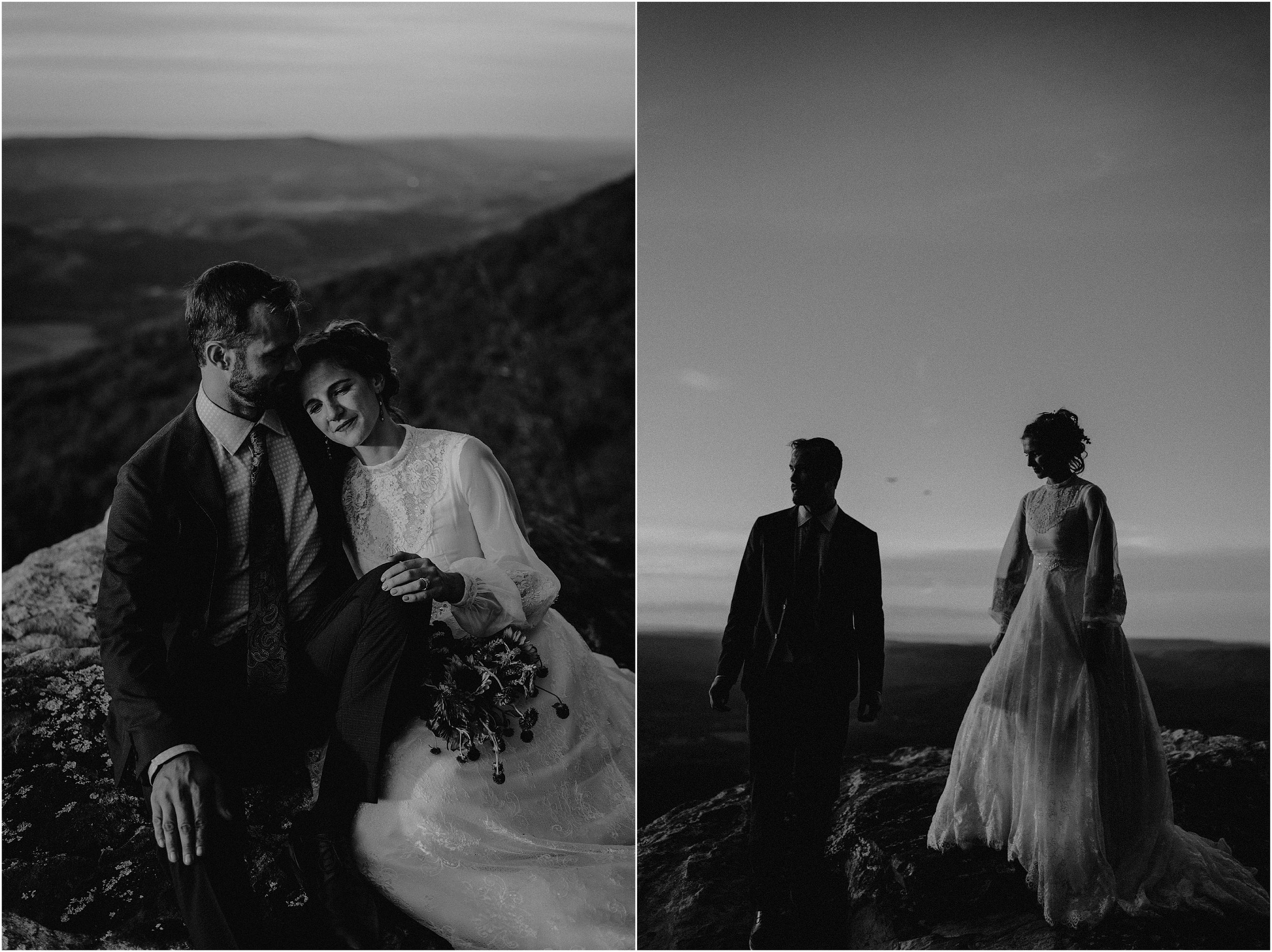 Dramatic black and white images of the bride and groom cliffside on Lookout Mountain, Georgia