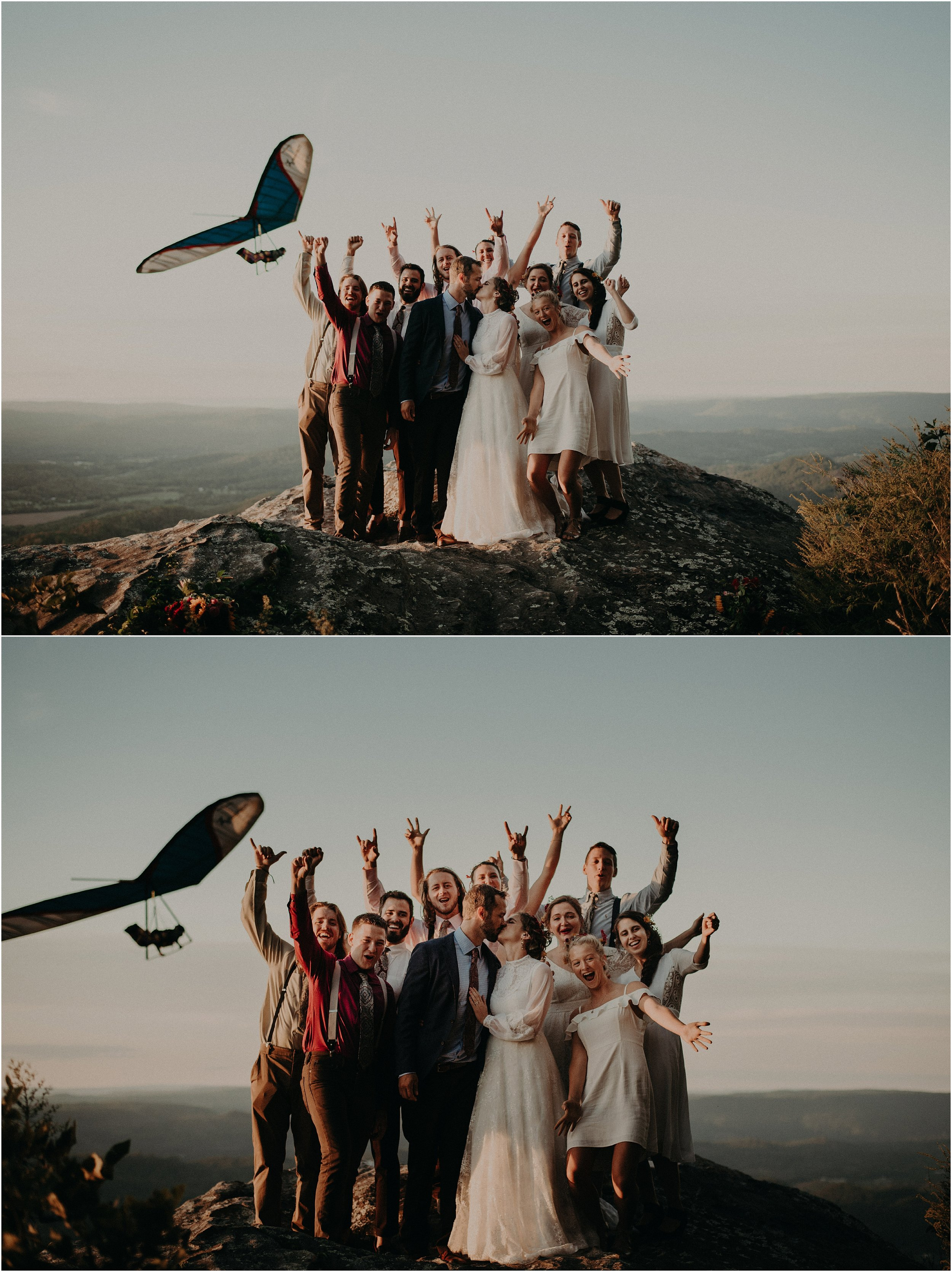 Adventurous hang-gliding wedding on Lookout Mountain, Georgia / Tennessee