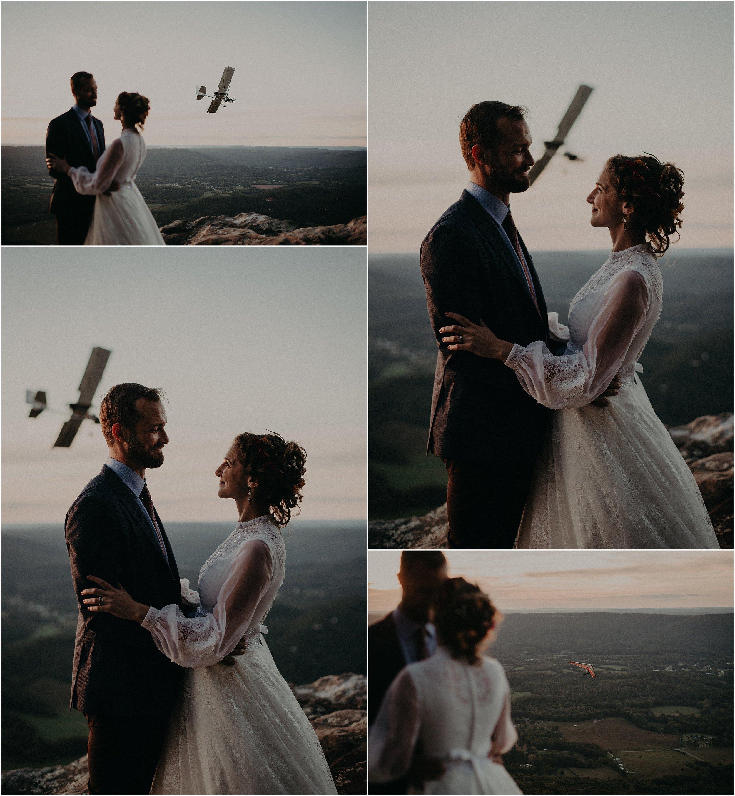 Bride and groom are hang-gliding pilots and centered their wedding around epic mountain images