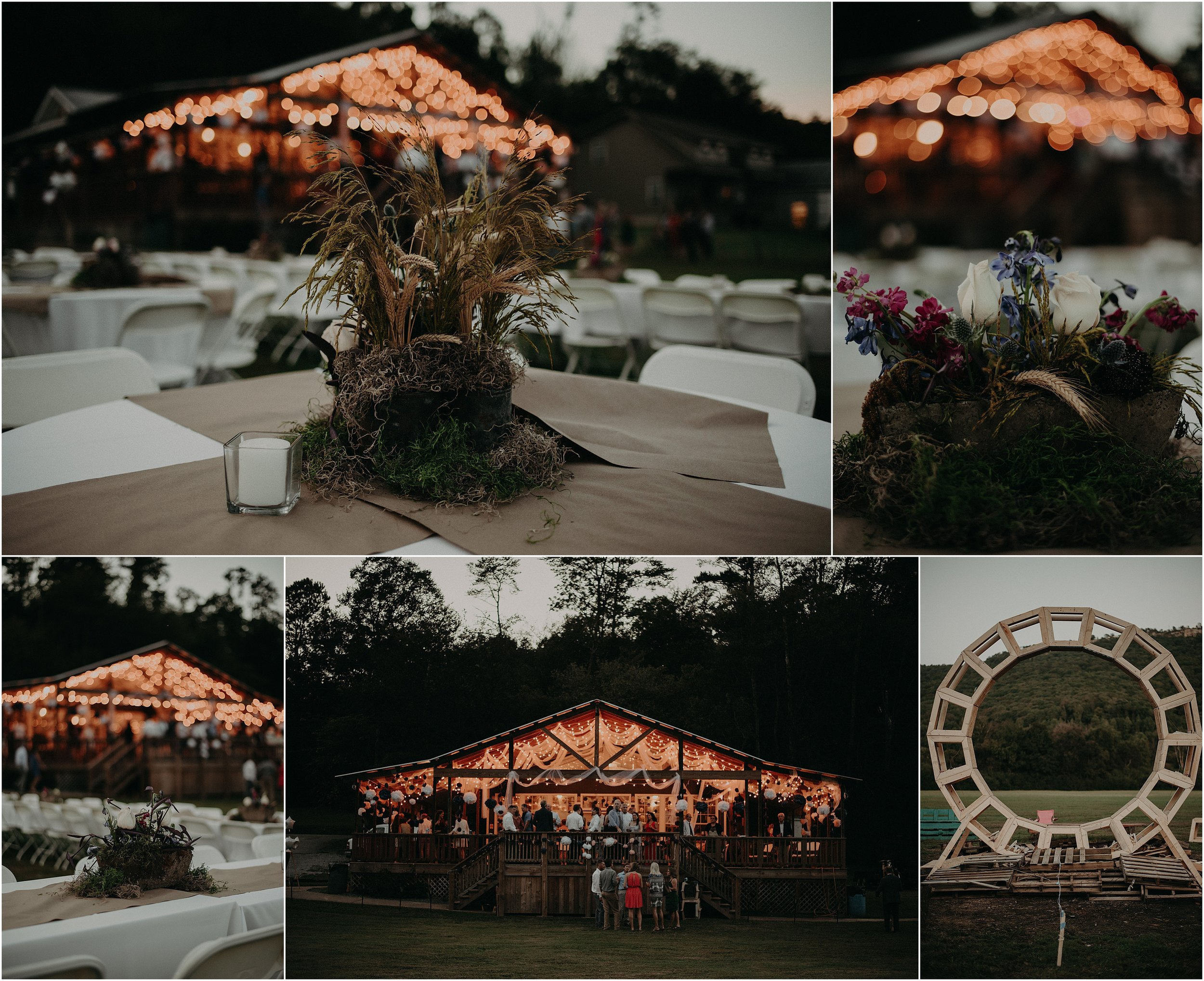 Reception details inspired by wildflowers and fire features at this Lookout Mountain Hang-gliding School wedding