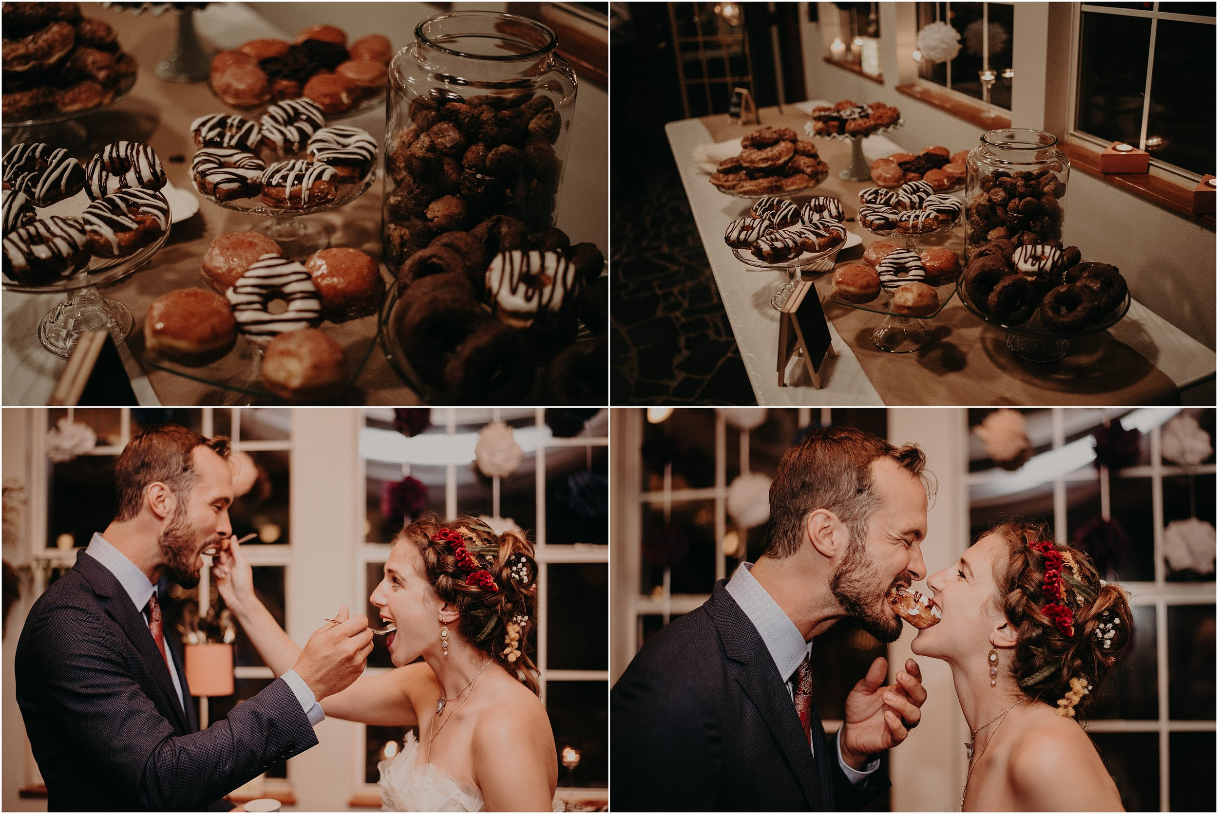 The couple had a donut and ice cream dessert bar at their reception