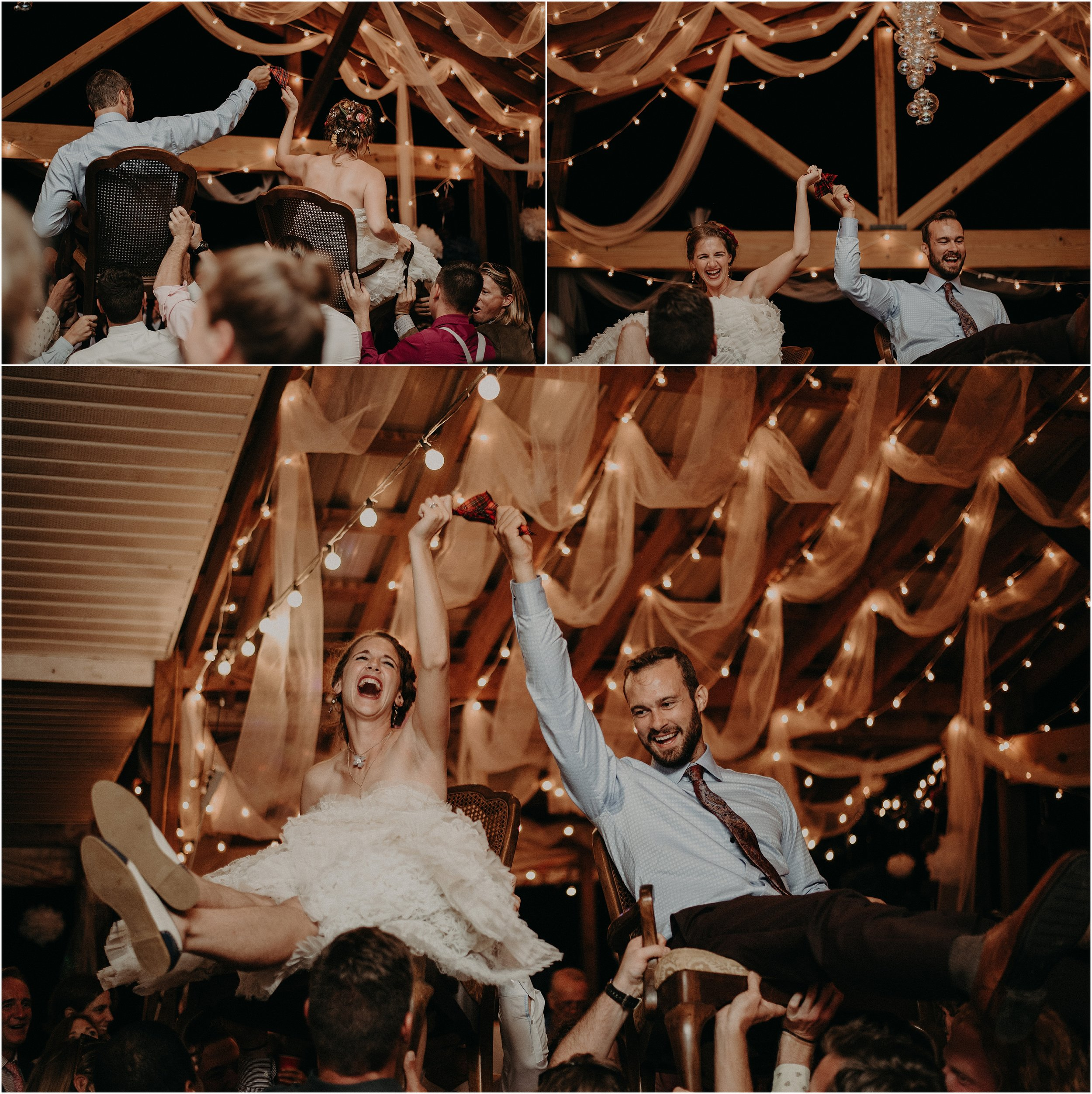 Bride and groom perform the traditional Jewish dance, The Hora