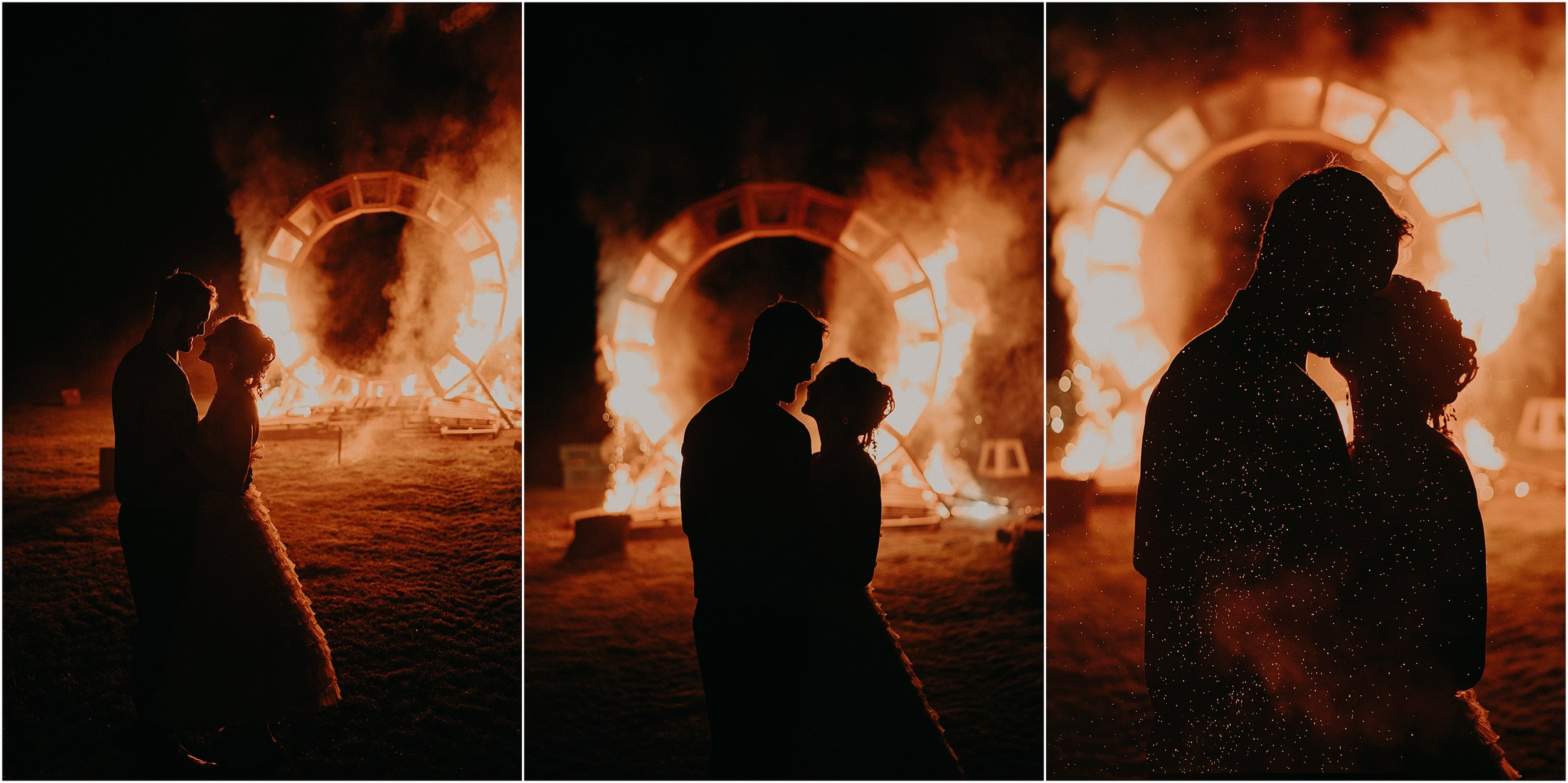 Fire-lit silhouette images of the bride and groom in front of their fire installation art piece at the adventurous mountain wedding in Tennessee
