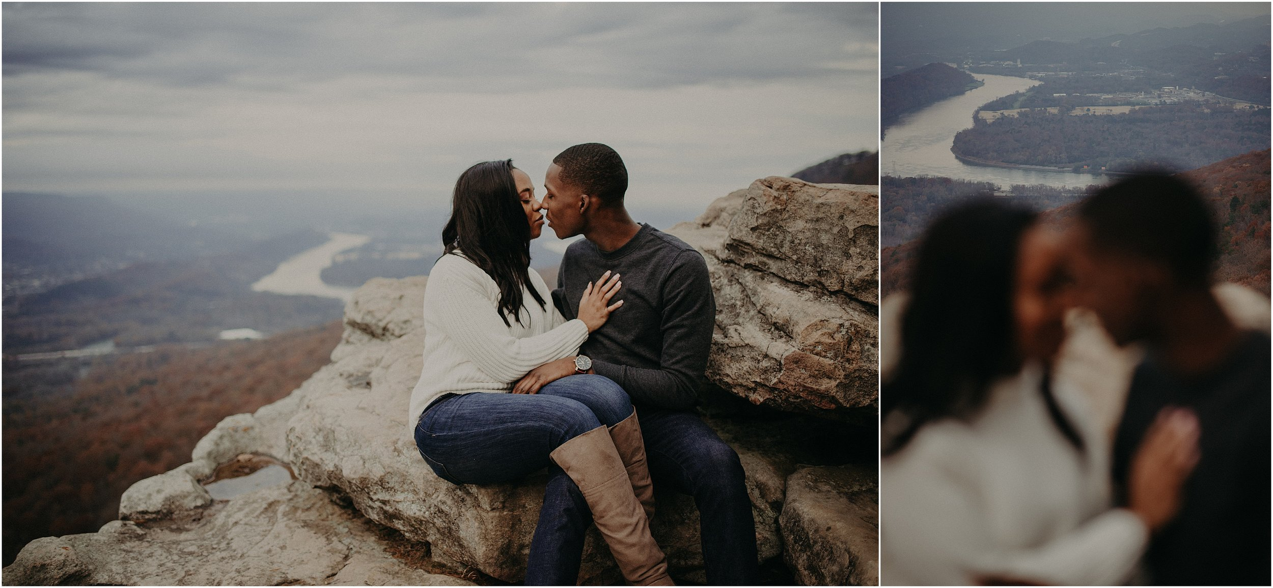An engagement session atop Sunset Rock with the Tennessee River in the background