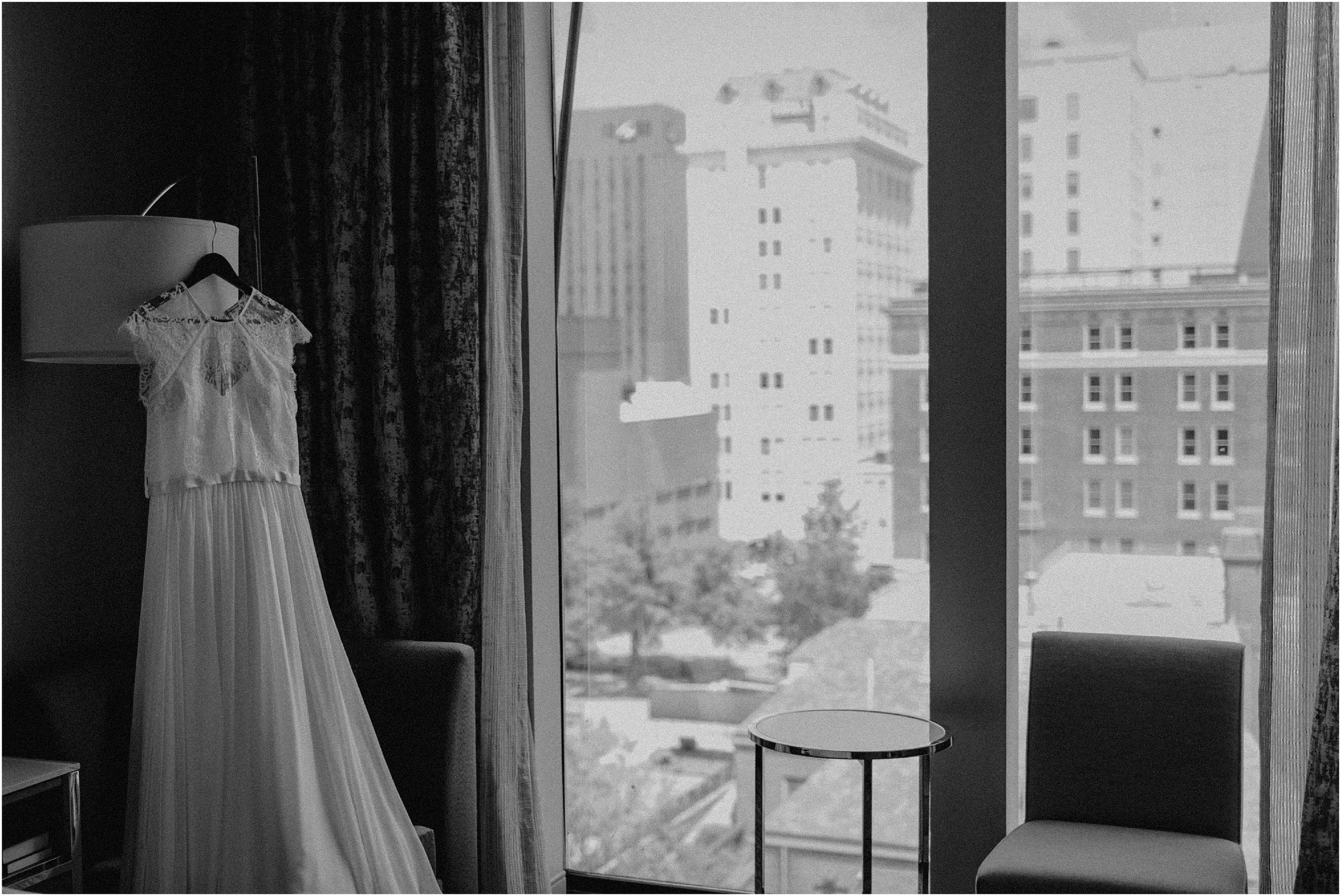 The bride's gown hangs in the room at  The Westin Hotel  in Chattanooga, TN