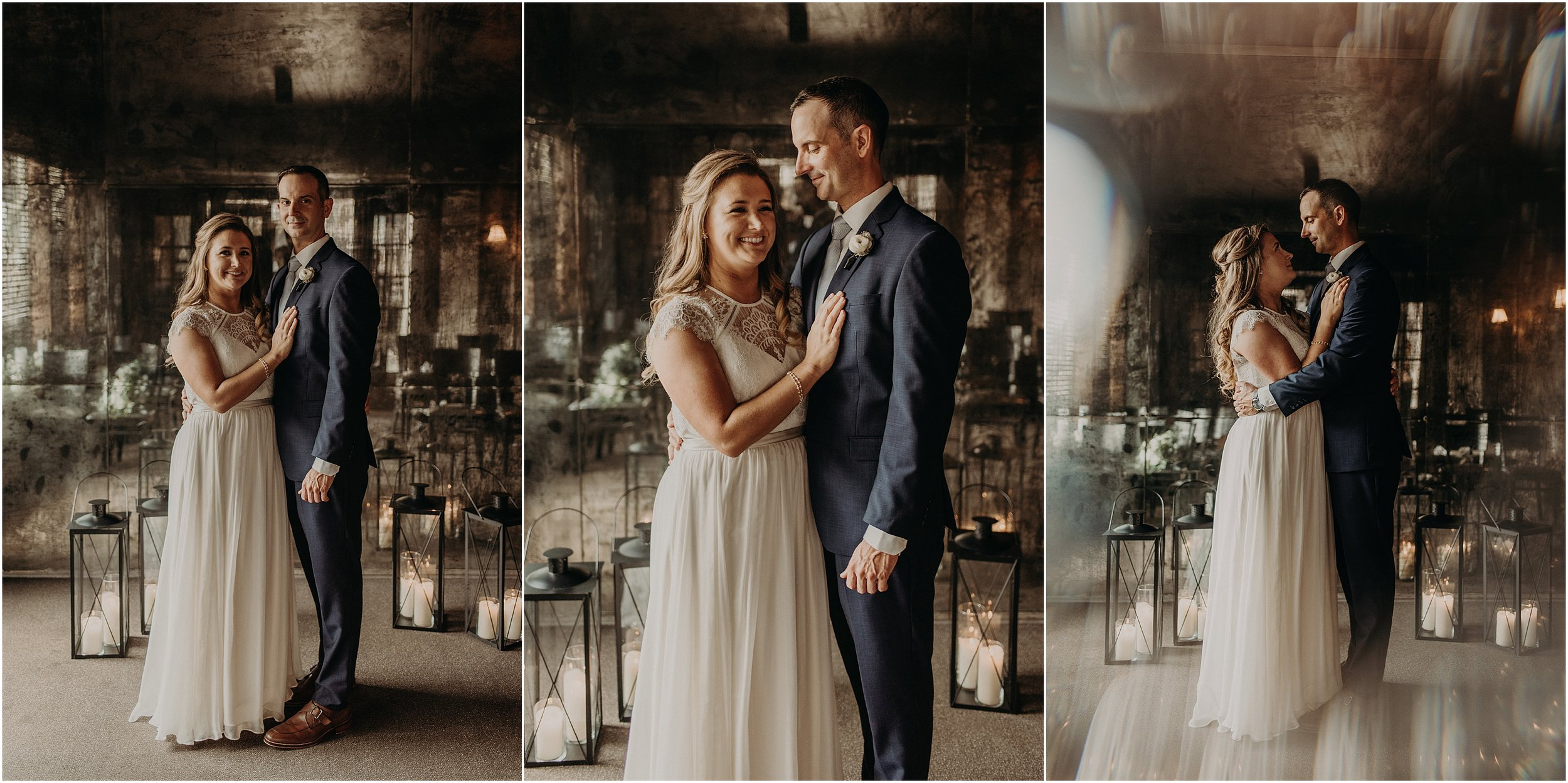 Bride and groom elope in private party room with reflective walls and ceiling