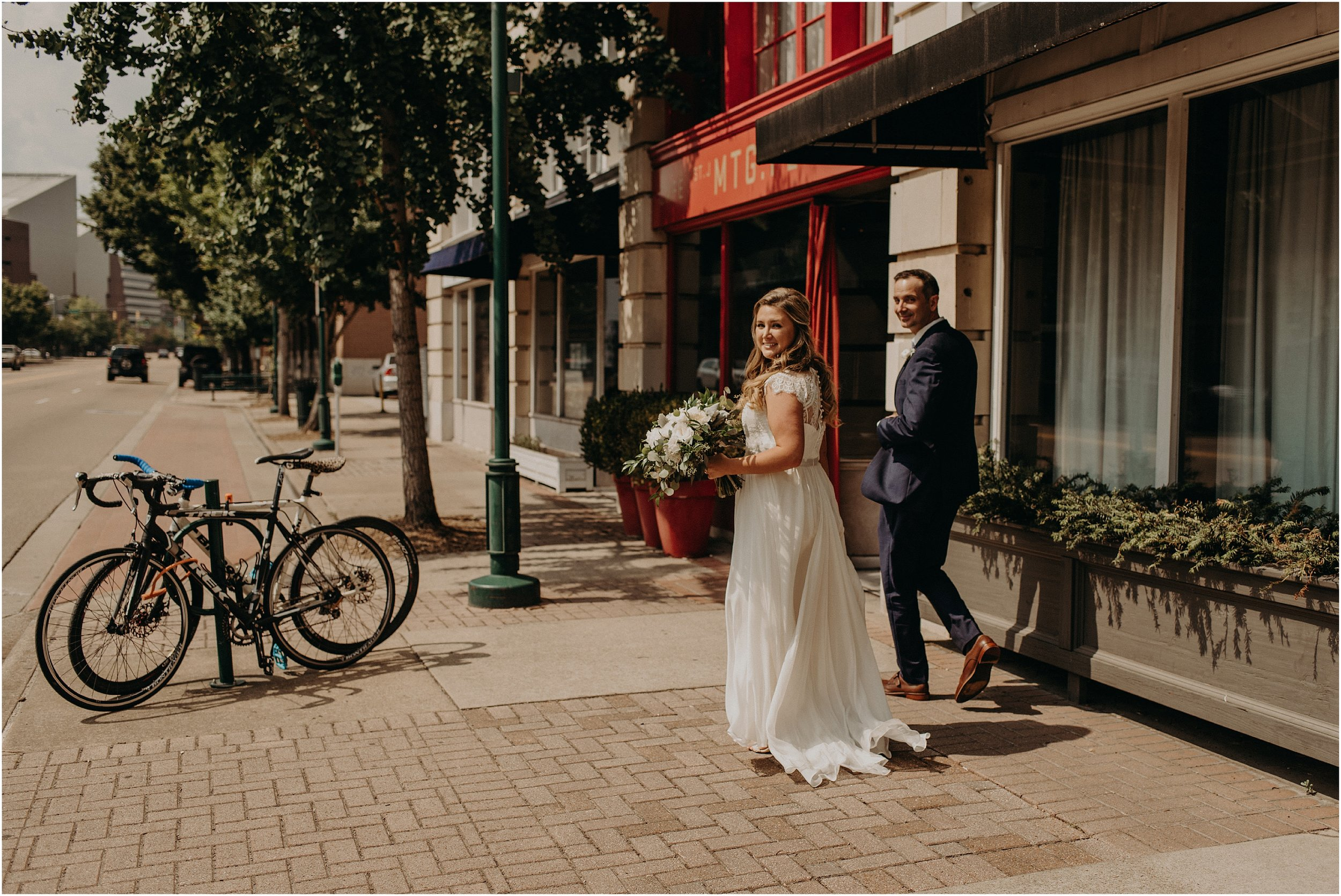 Urban city portraits for the bride and groom in Chattanooga, Tennessee