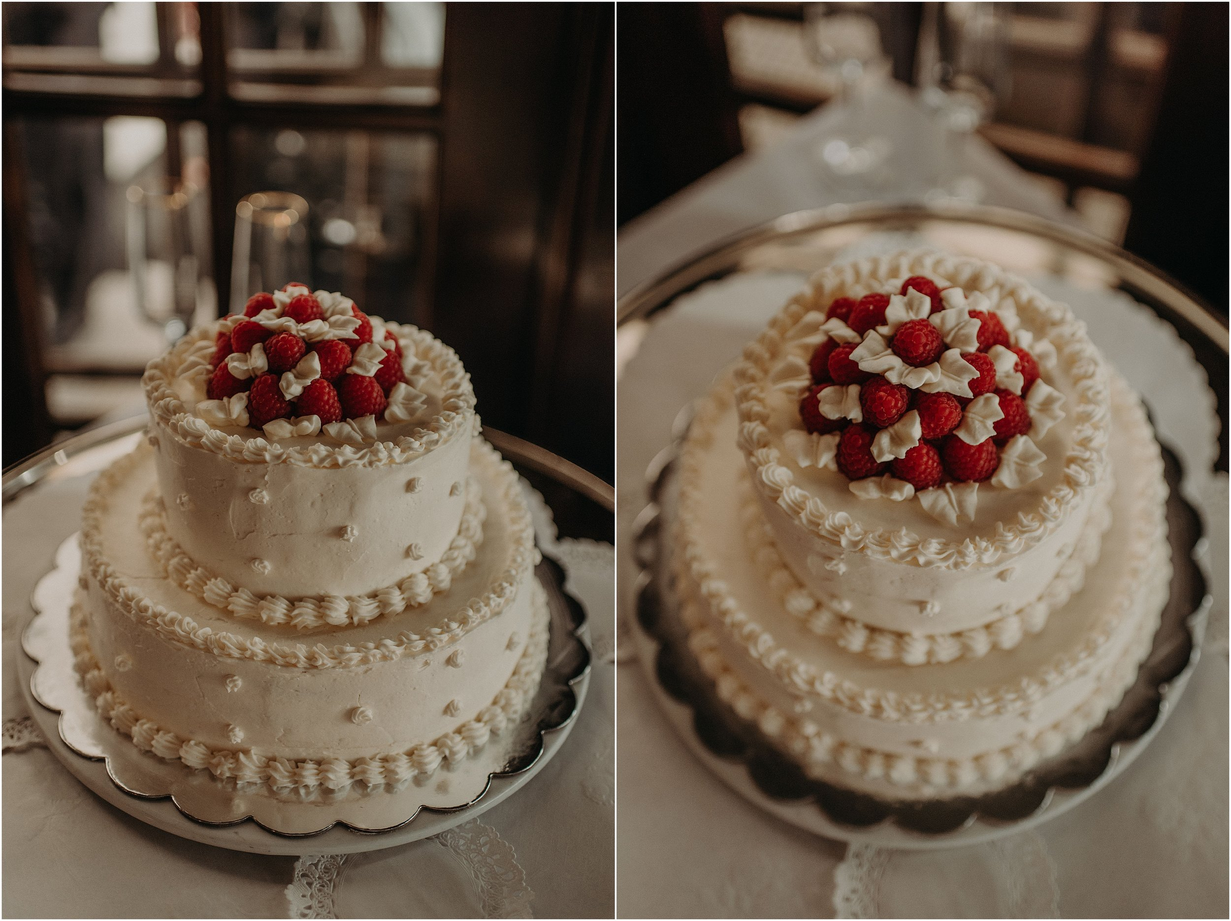 Vanilla almond and raspberry two-tiered wedding cake