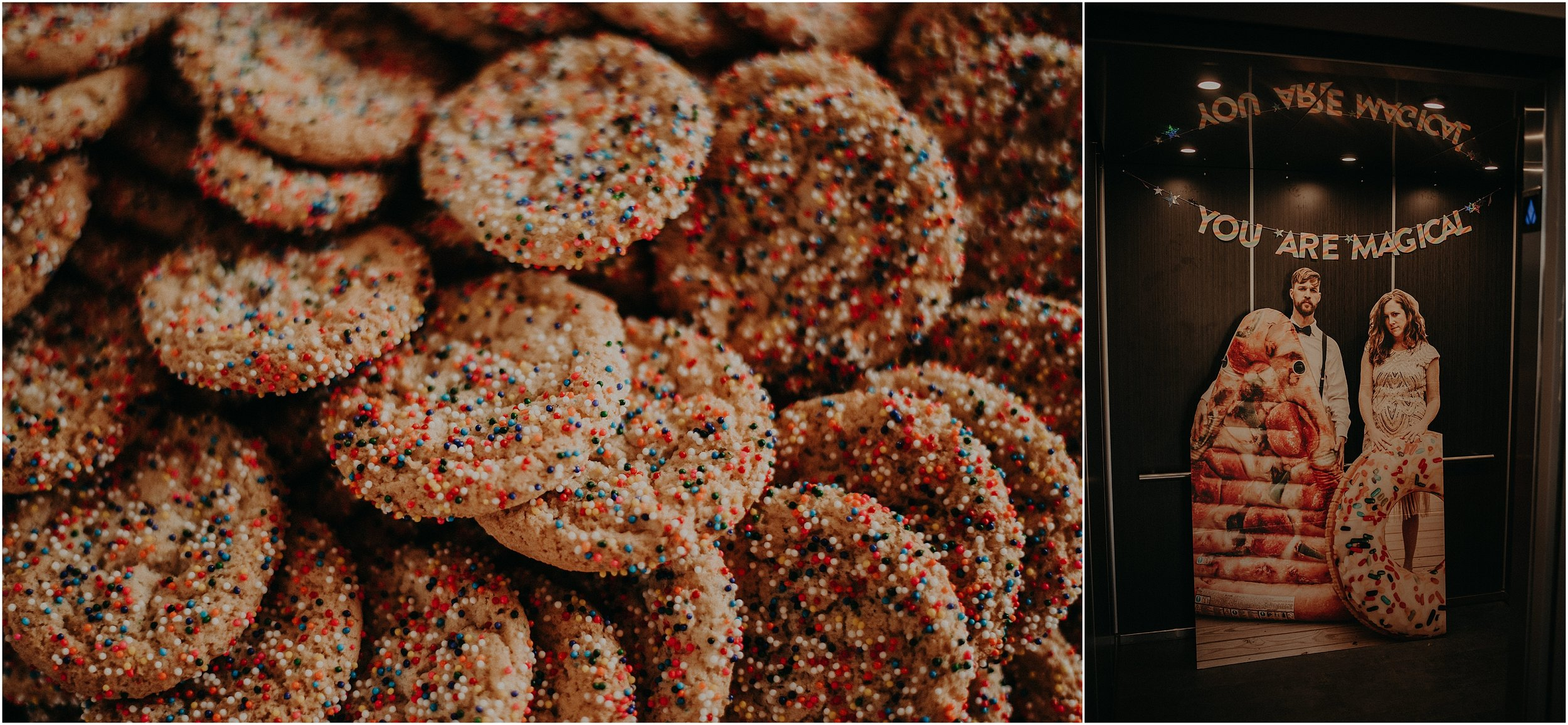 Sprinkle covered sugar cookies as part of their vivid wedding decor