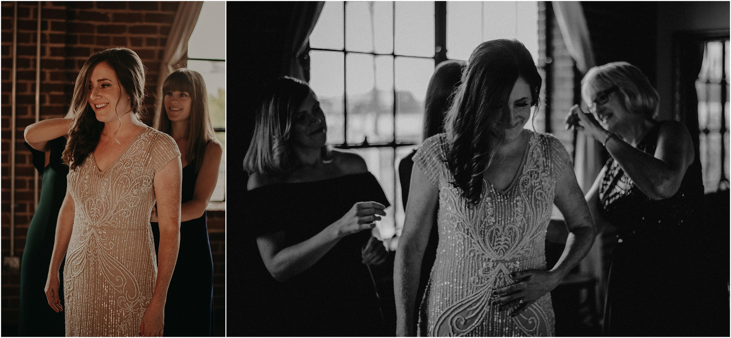 The bride's best friends help her into her BHLDN wedding gown