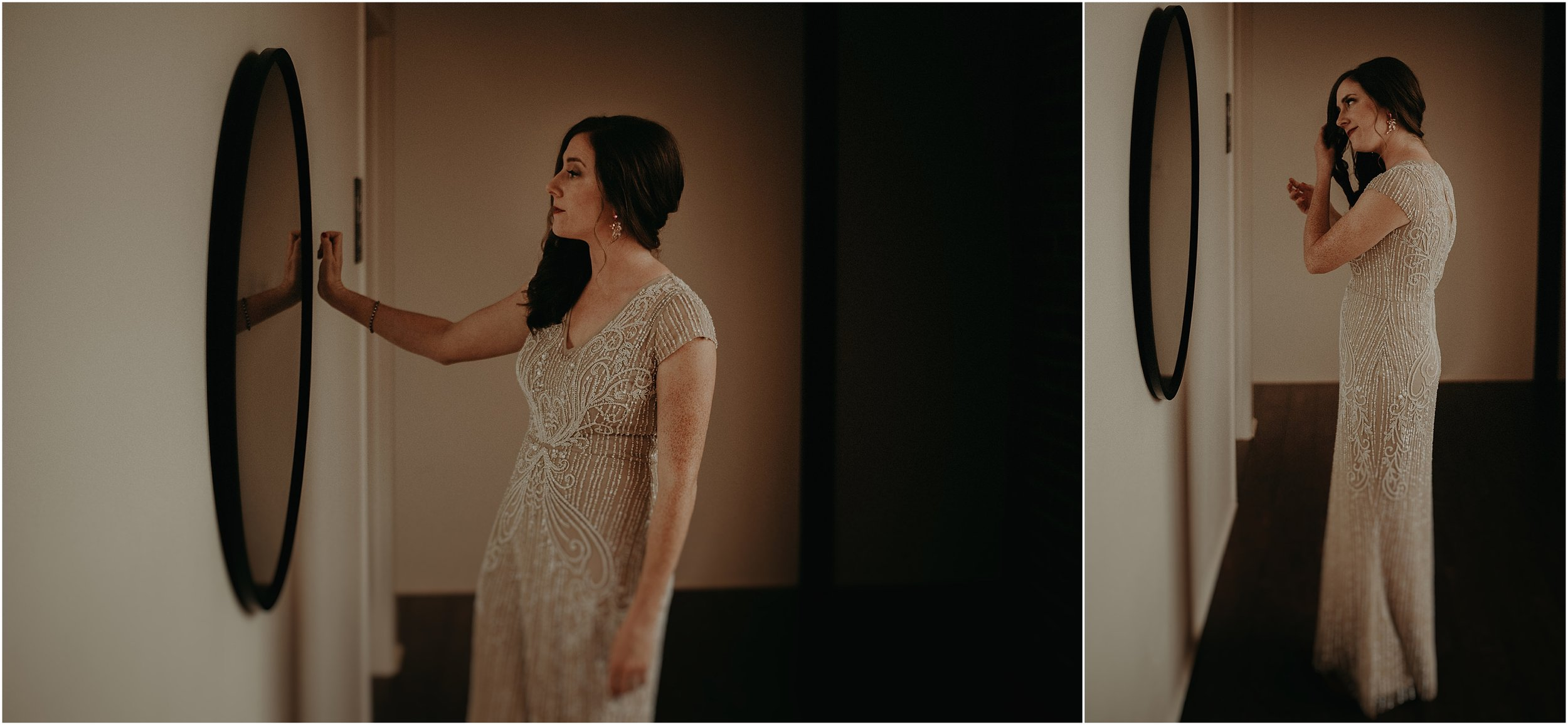 Bride checks her reflection before the first look