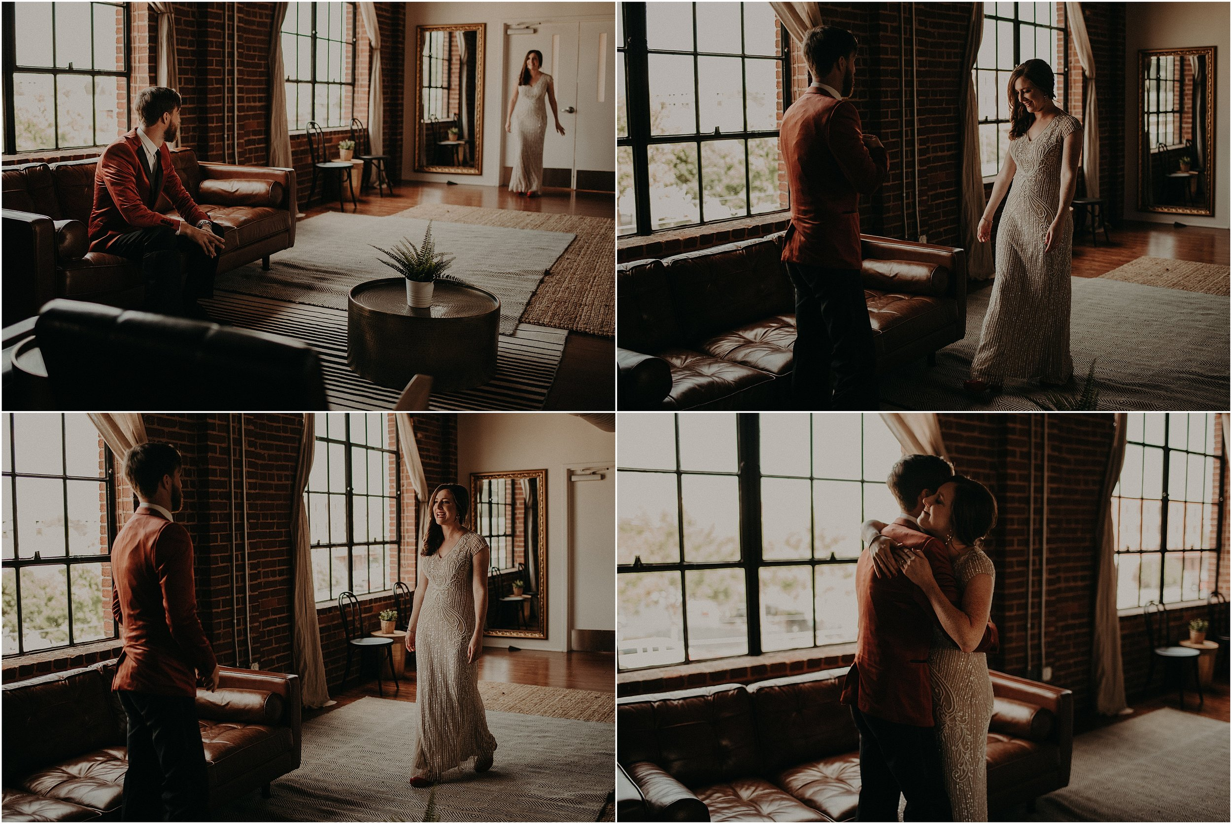 The super stylish wedding couple share their first look in the wedding suite at The Turnbull building in Chattanooga, Tennessee