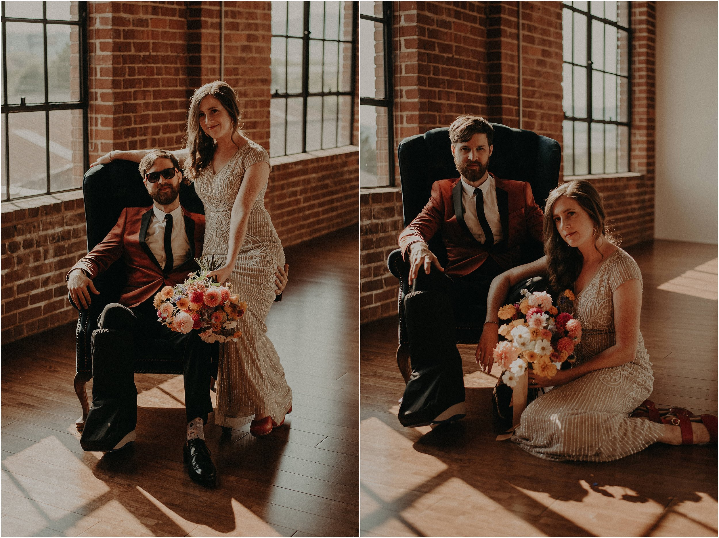 The groom had a broken leg, but it didn't stop his dapperness!