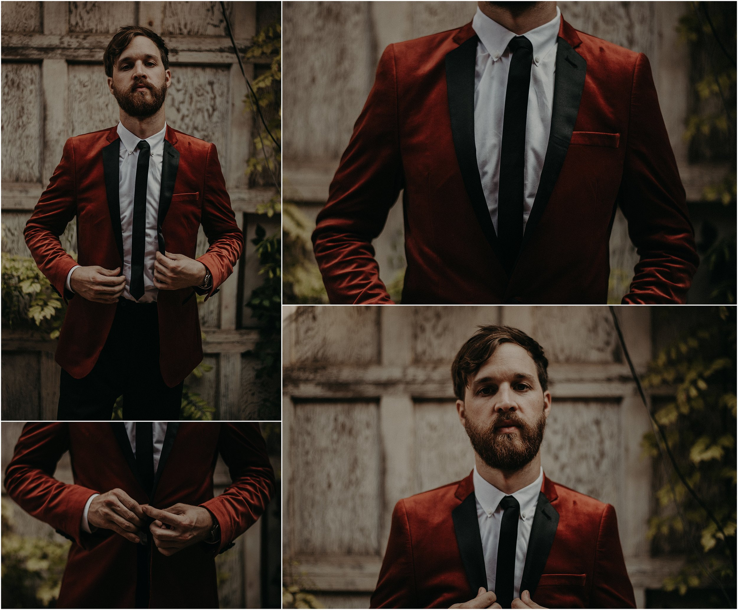 The groom wears a crushed velvet burnt orange ASOS jacket with a skinny black tie