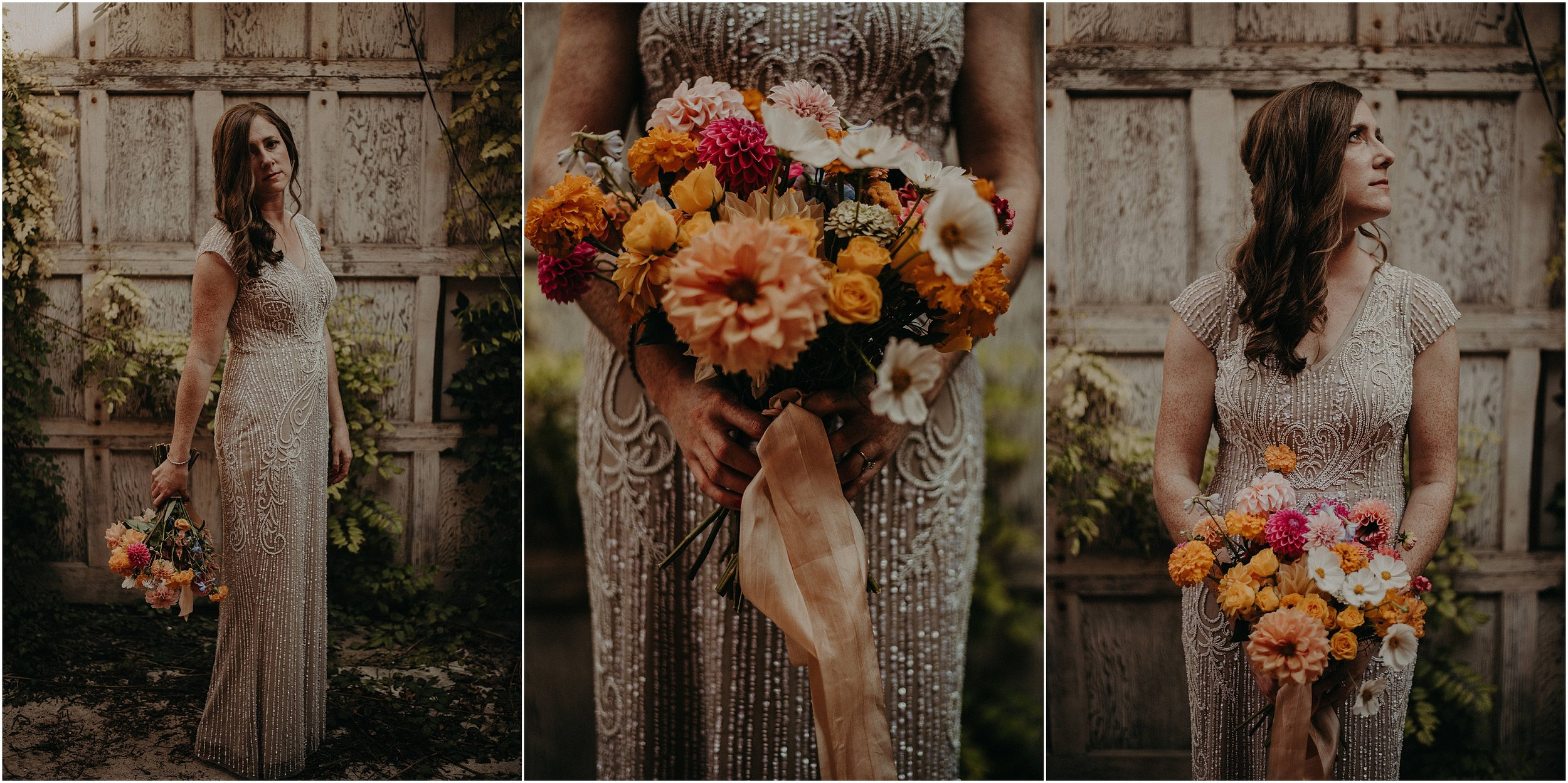 The brides wear a beaded champagne BHLDN gown with vibrant florals from Southerly Flowers Farm