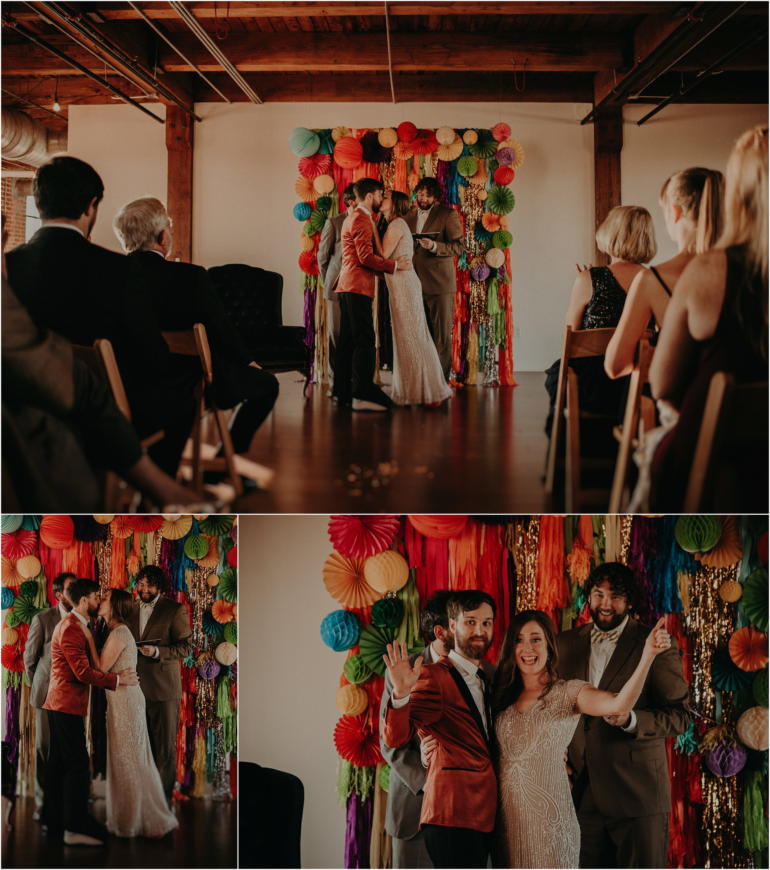 Exciting festival inspired ceremony and the bride and groom share their first kiss