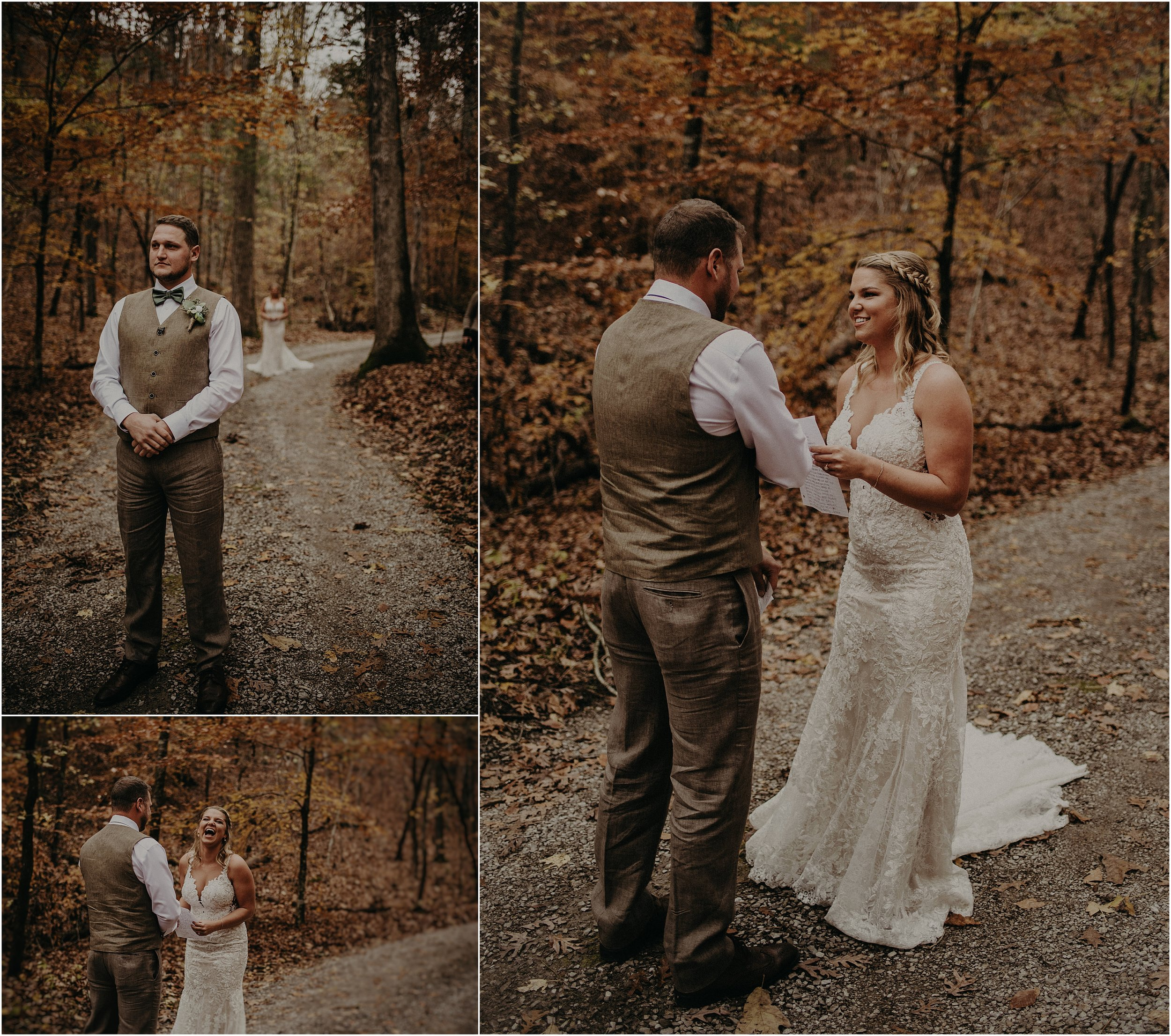 Couple reads letters to each other during their first look in the fall forest