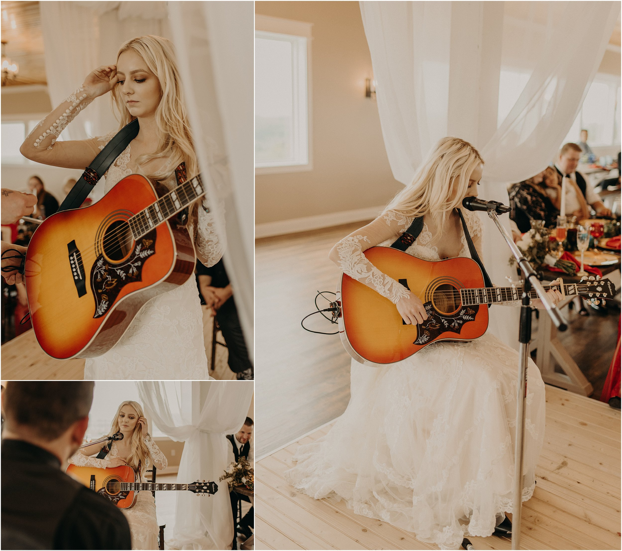 The bride sings and plays the guitar for her groom during their reception at The Views at Sunset Ridge in Chattanooga, Tennessee