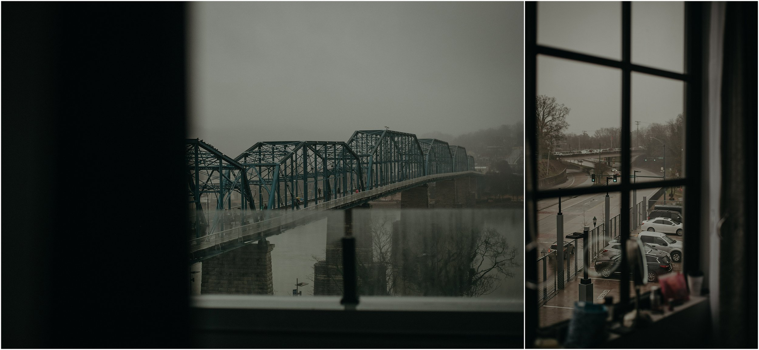 Rainy window views of the Walnut Street Bridge in downtown Chattanooga, TN