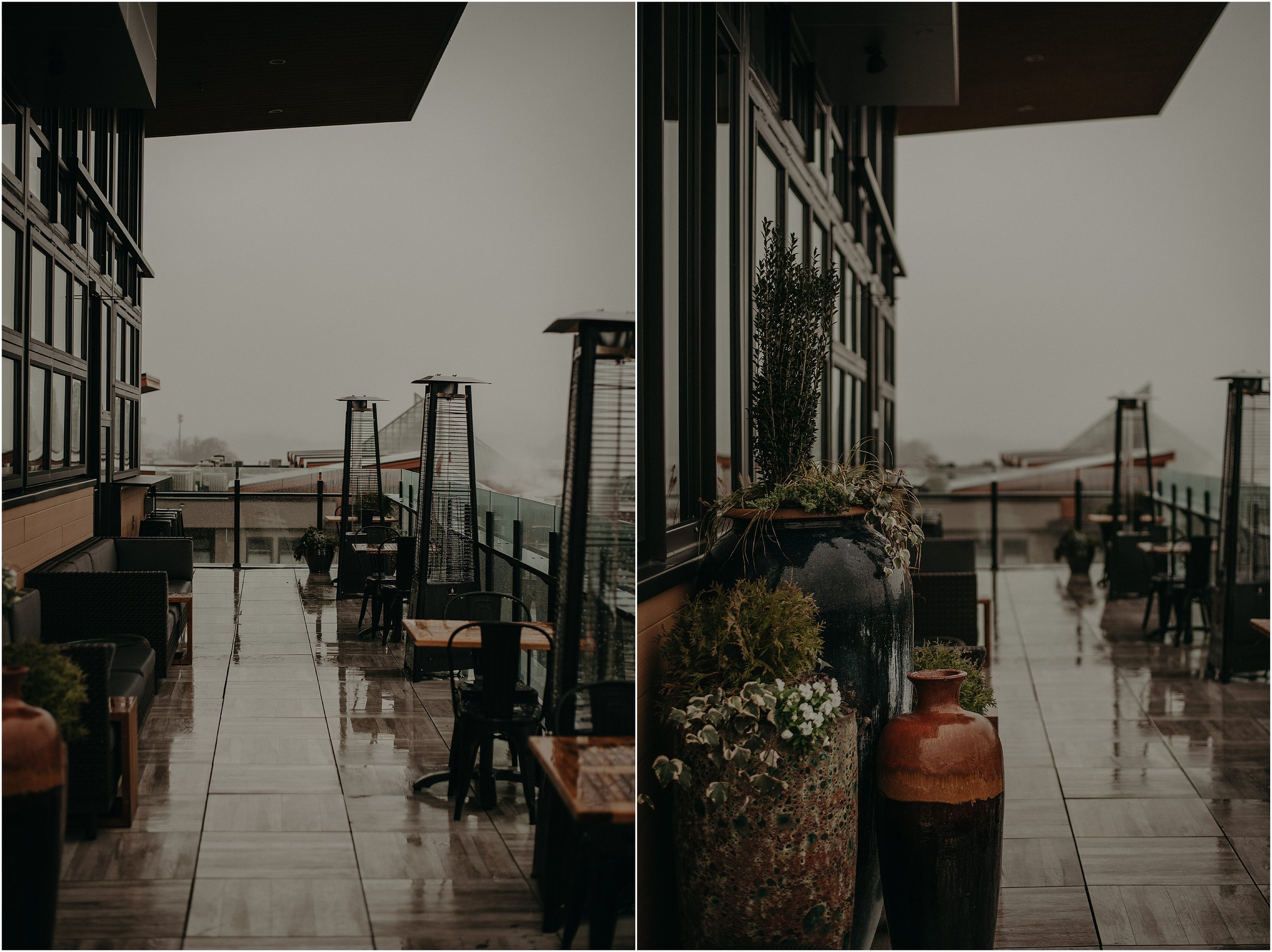 The rain-soaked patio of the Whiskey Thief Lounge
