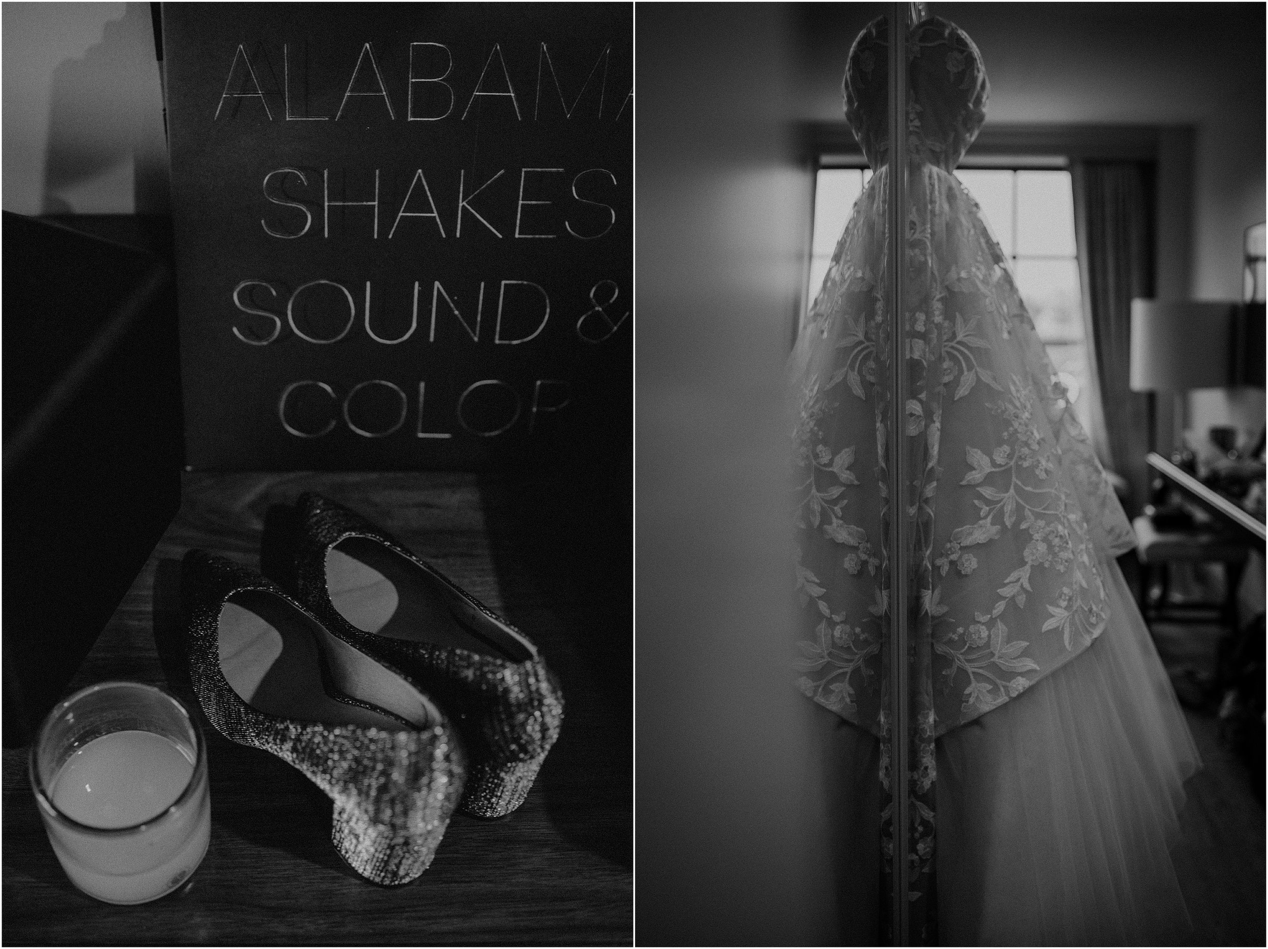 Bridal details, metallic shoes, and an Alabama Shakes record in the hotel suite at The Edwin