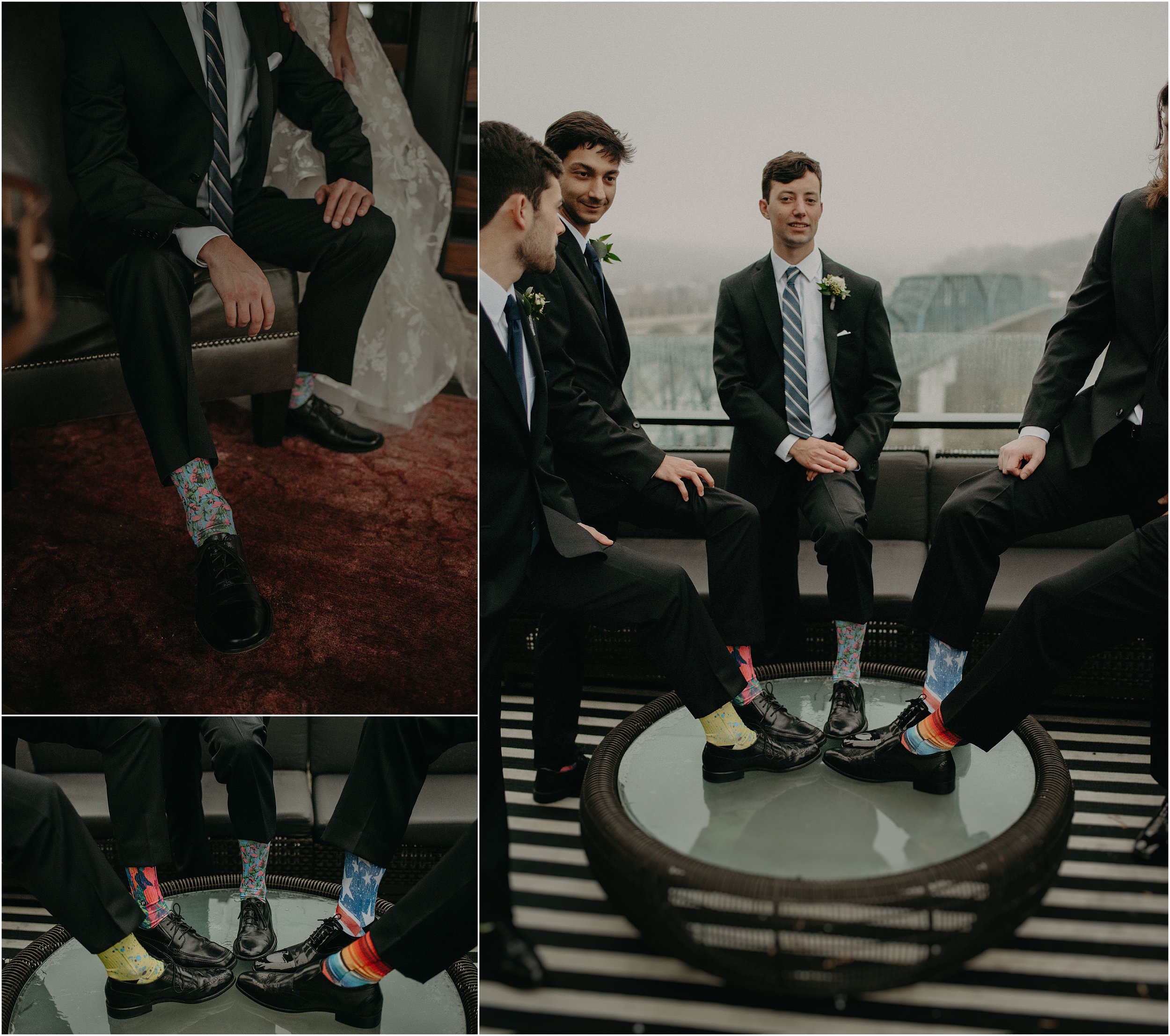 The groomsmen all wore socks from Handup Gloves