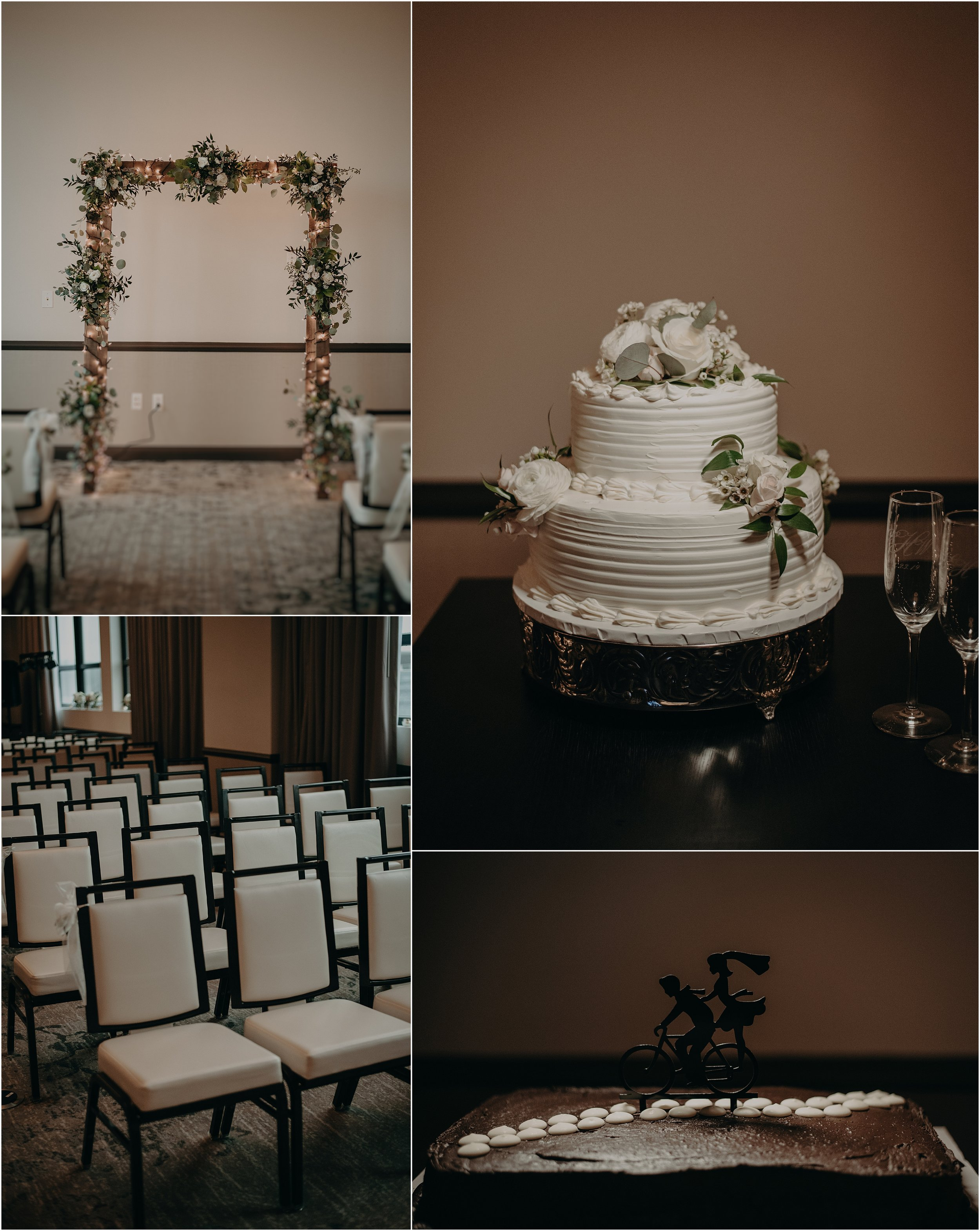 The Edwin Hotel's ballroom center for weddings and a classic two-tier wedding cake