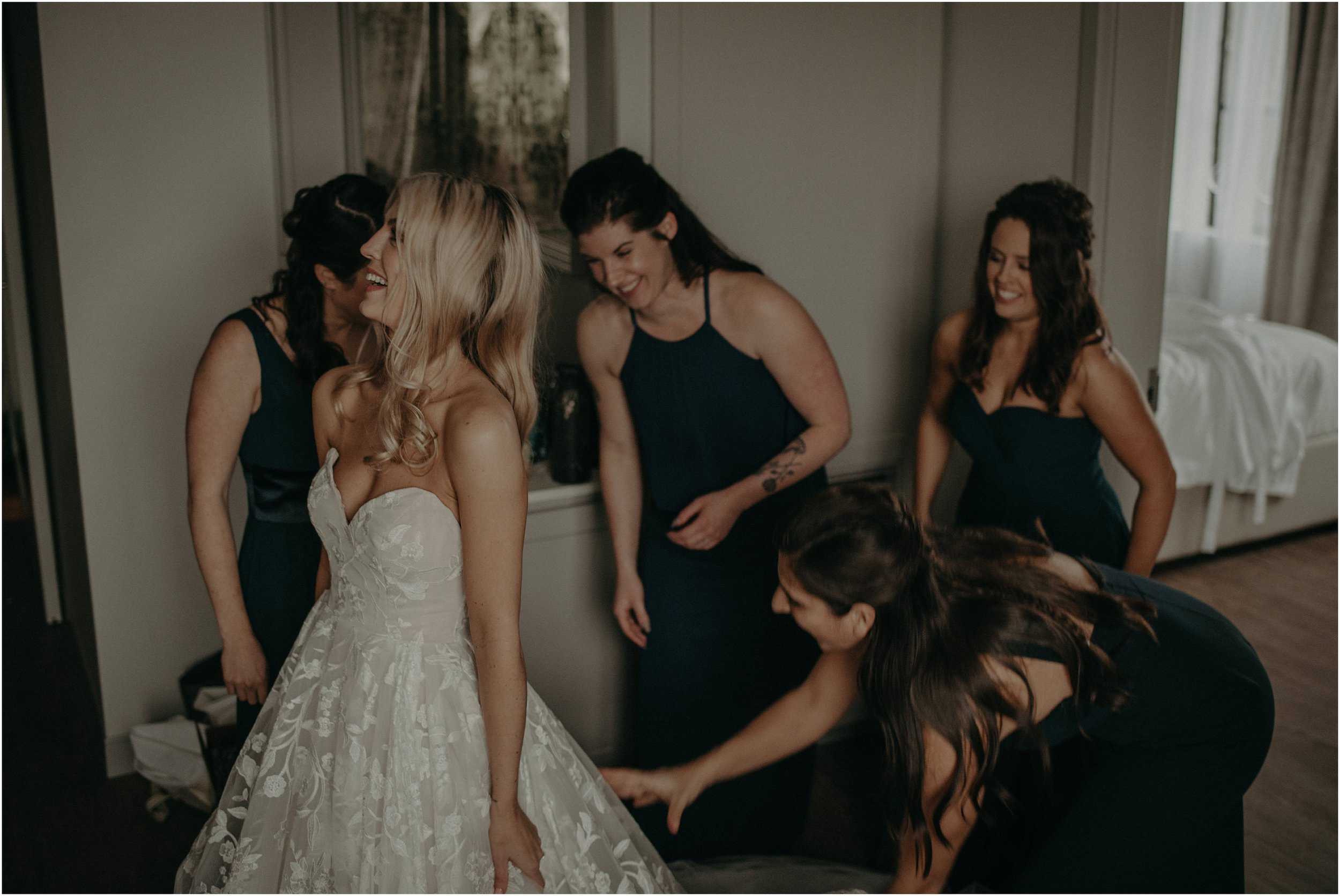 Official dress train fluffers per the bridesmaids' title