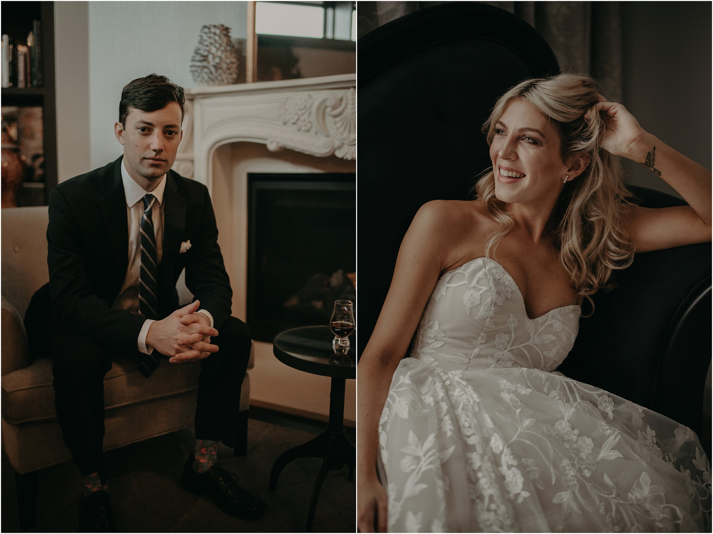 Bride and groom portraits at The Edwin Hotel in Chattanooga, TN